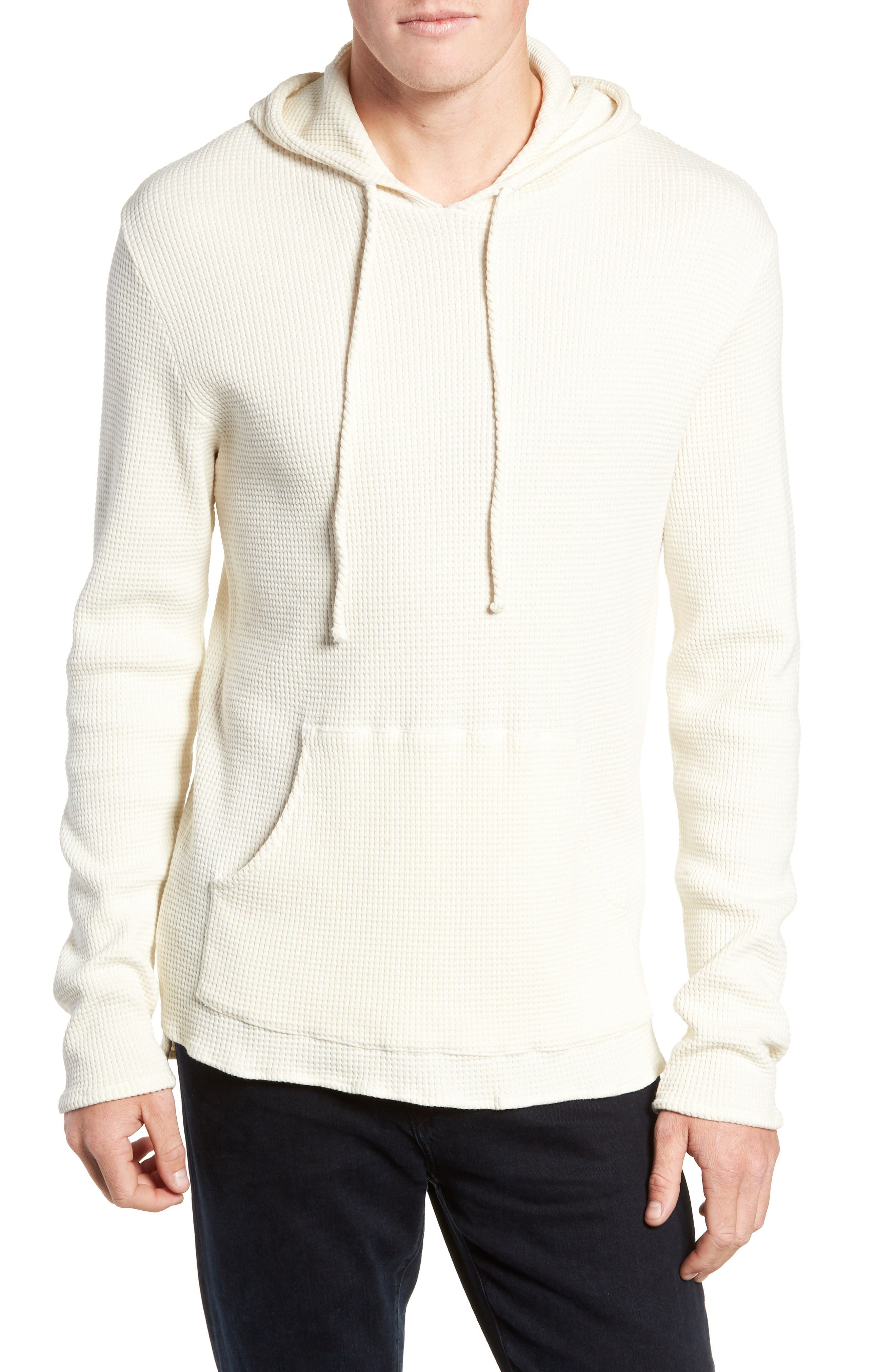 Thermal Knit Pullover Hoodie,                         Main,                         color, WHITE