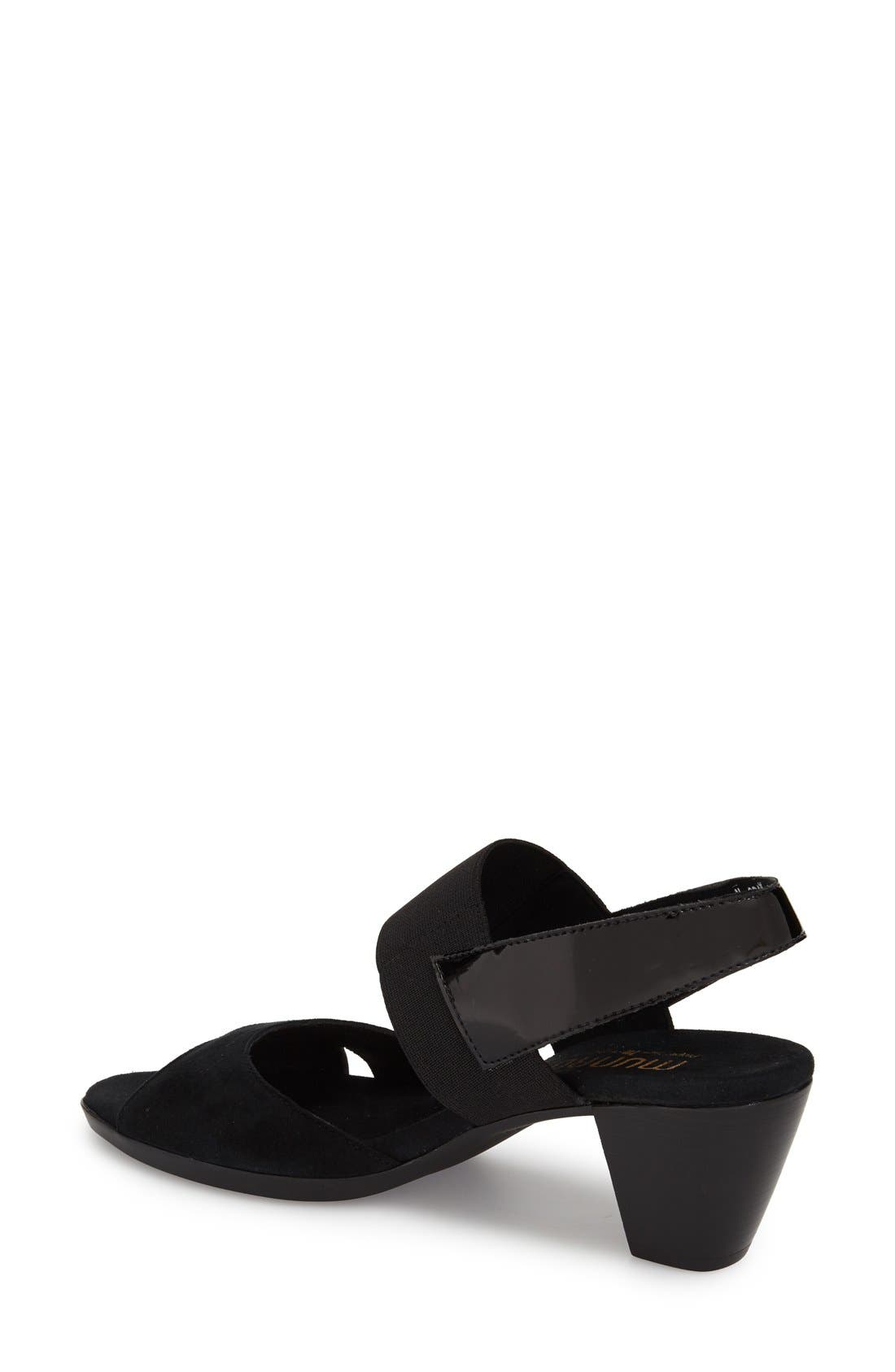 MUNRO,                             Darling Mixed Finish Slingback Sandal,                             Alternate thumbnail 3, color,                             BLACK COMBO