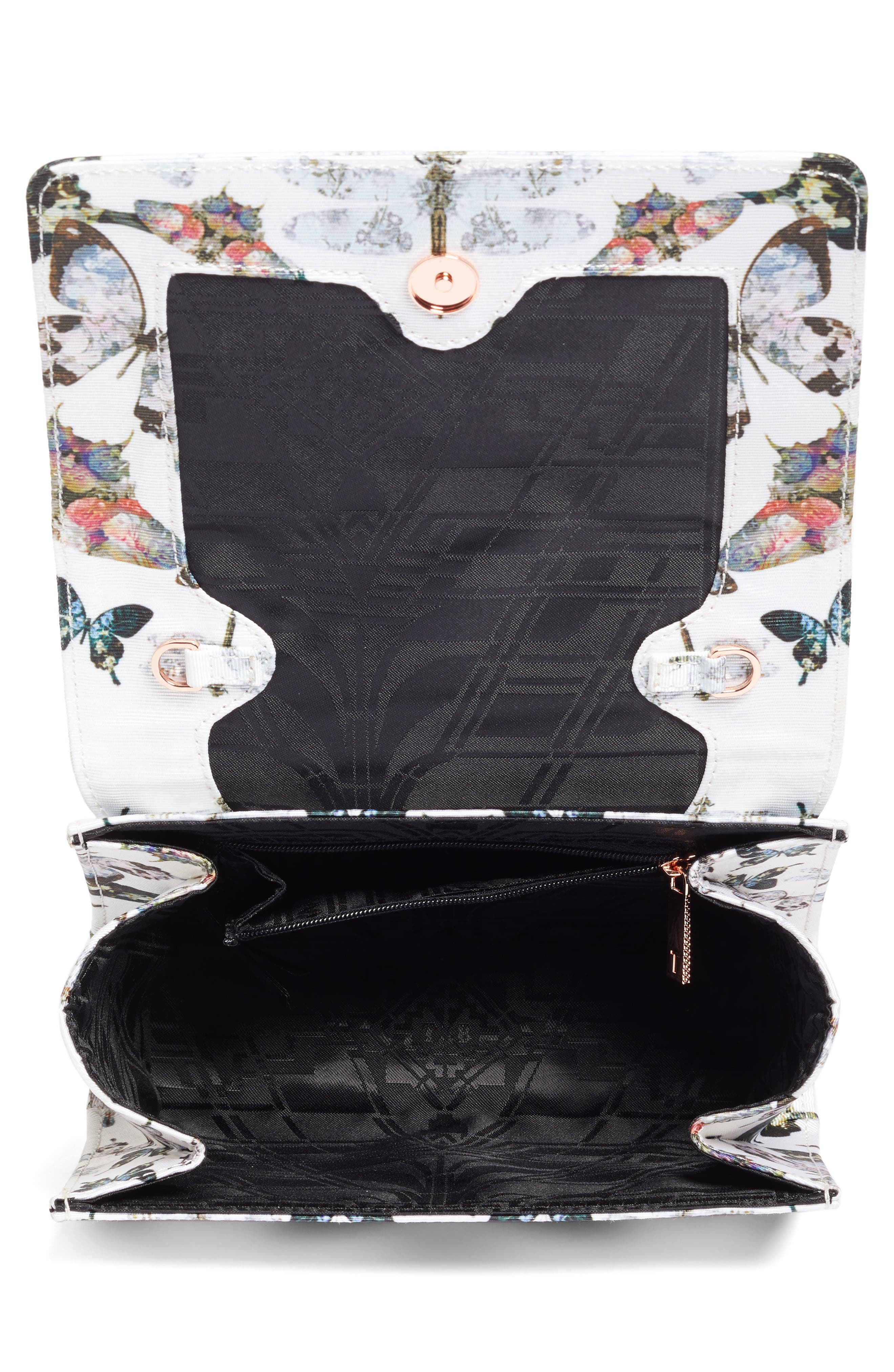 Strisa Butterfly Print Clutch,                             Alternate thumbnail 4, color,                             900