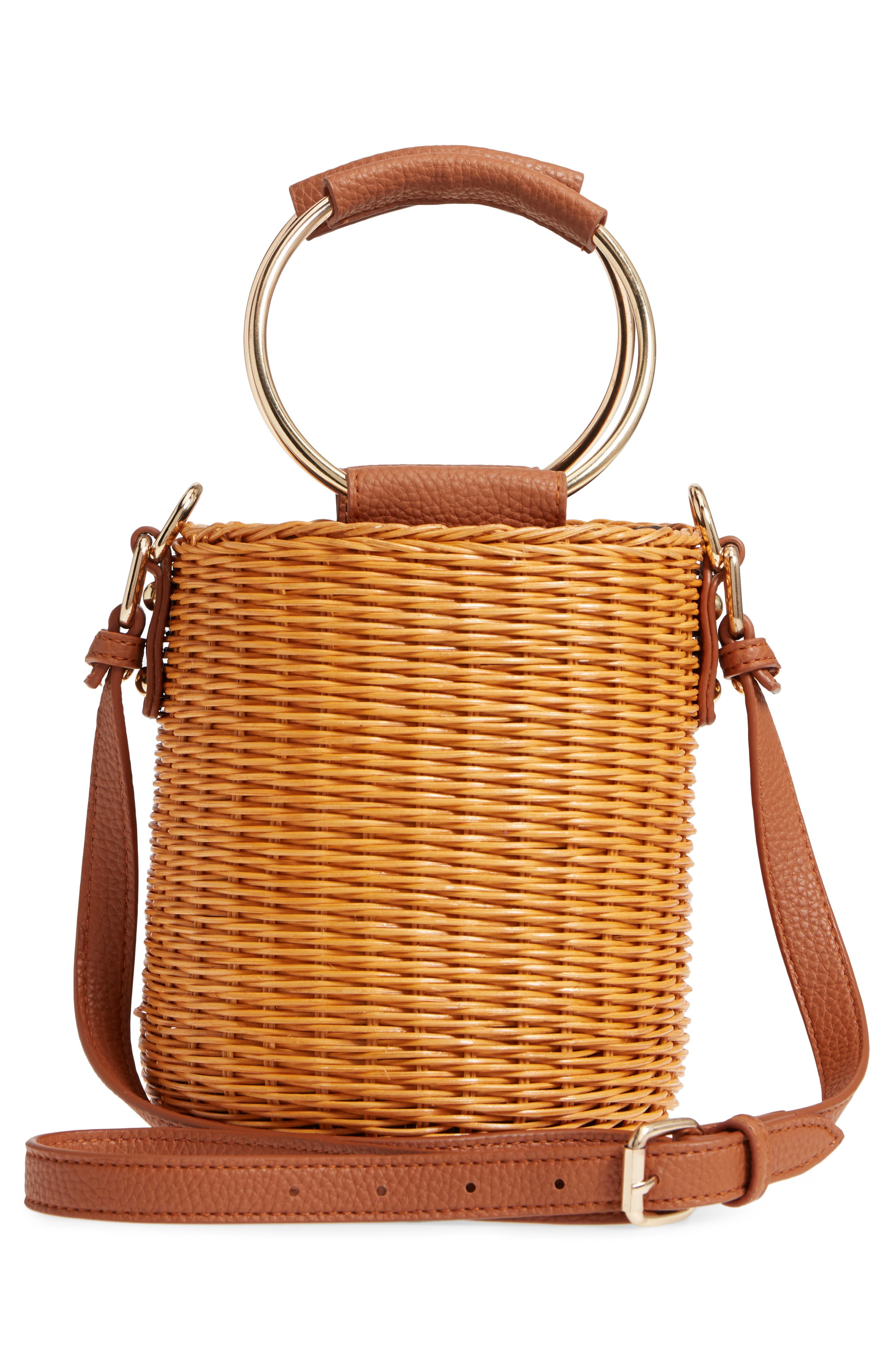 Metal Handle Straw Bucket Bag,                             Alternate thumbnail 3, color,                             243