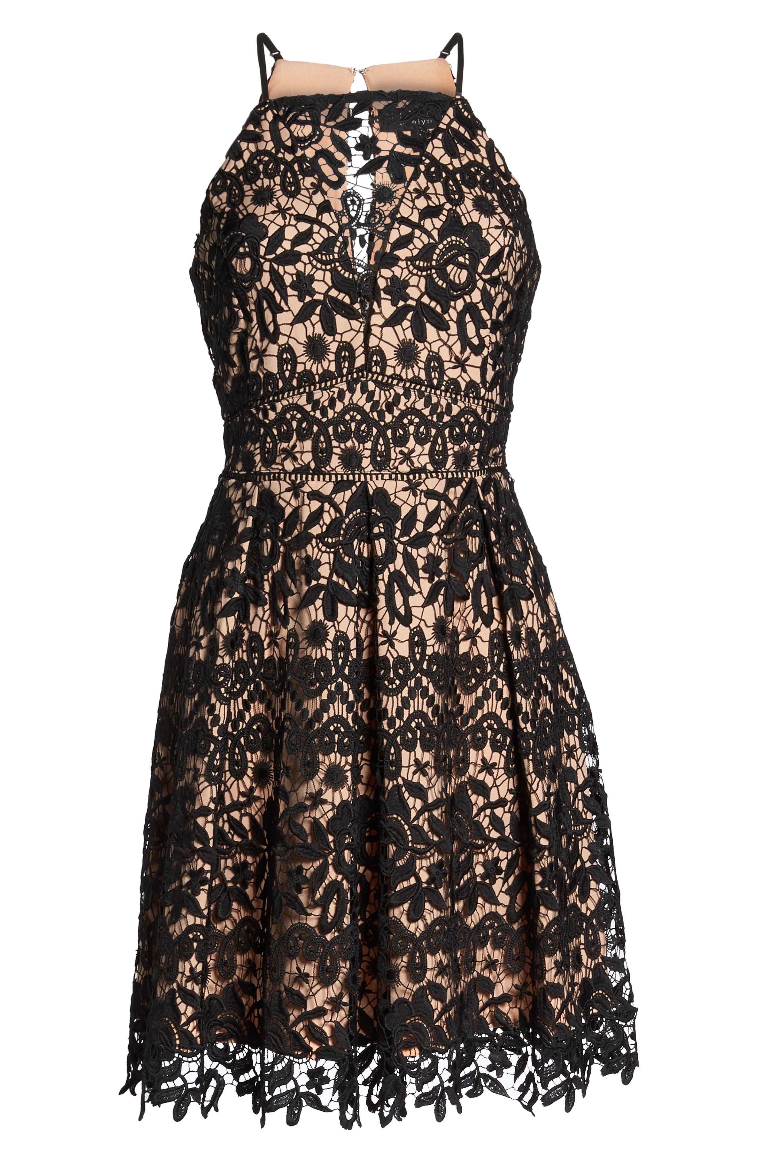 Krista Lace Fit & Flare Dress,                             Alternate thumbnail 6, color,                             001