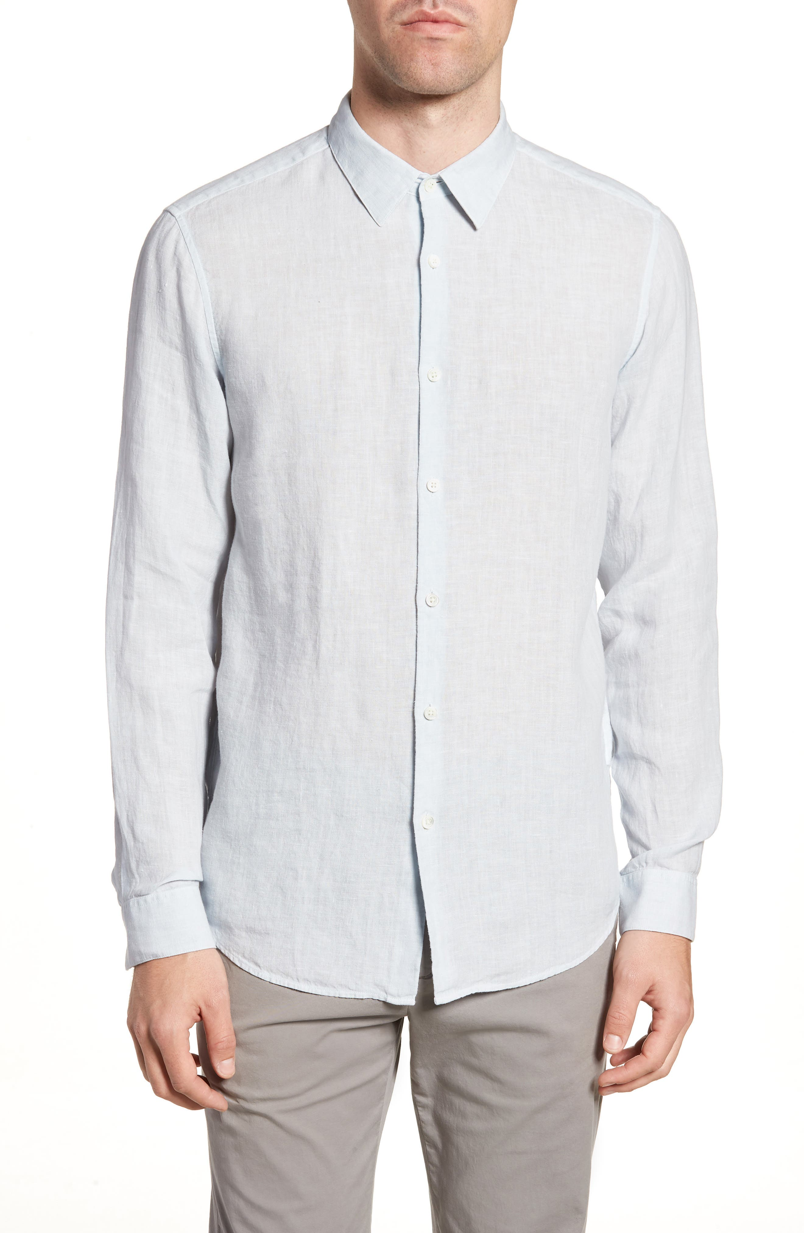 Irving Trim Fit Solid Linen Sport Shirt,                             Main thumbnail 1, color,                             STREAM