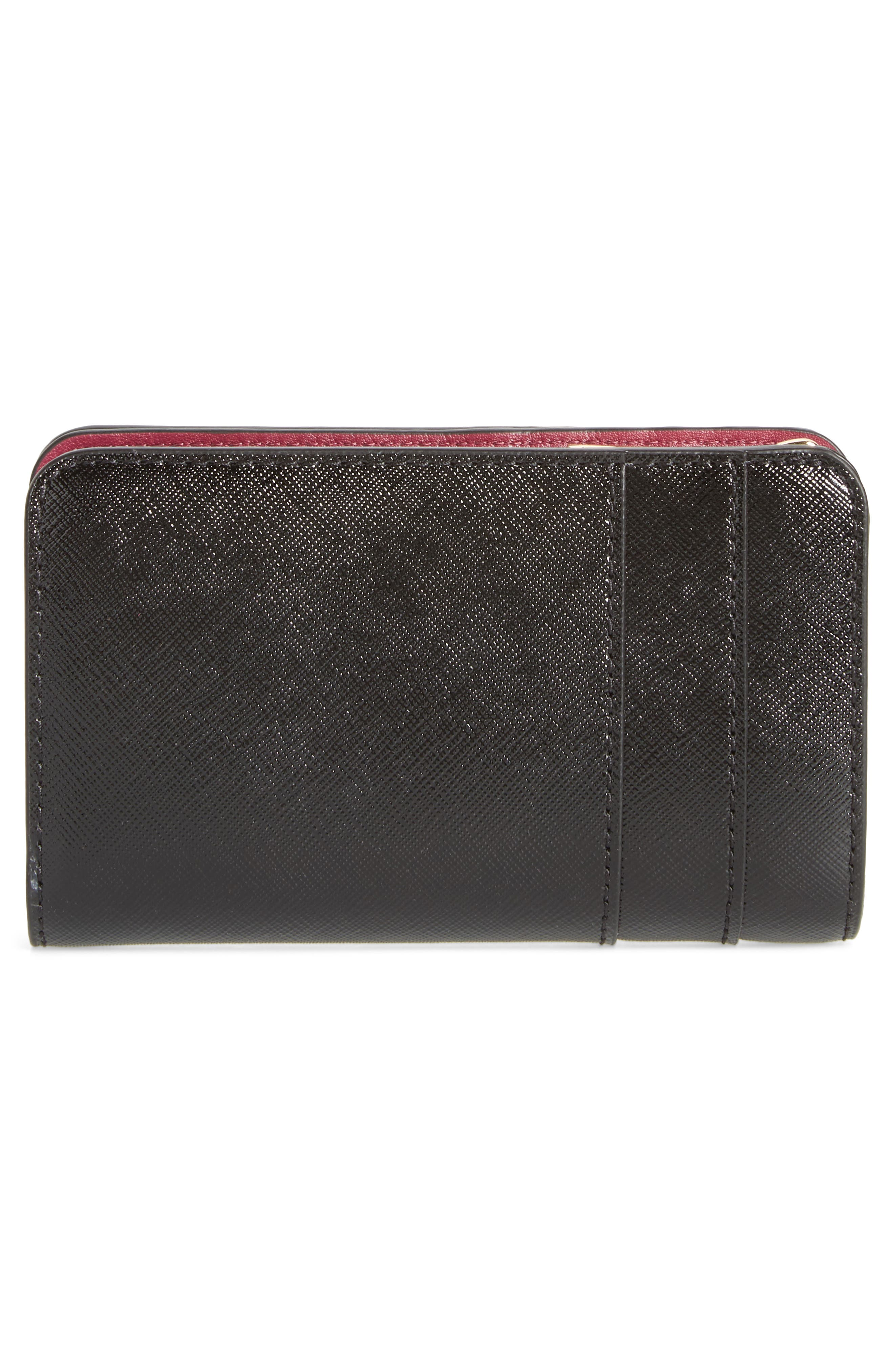 Saffiano Leather Compact Wallet,                             Alternate thumbnail 3, color,                             001