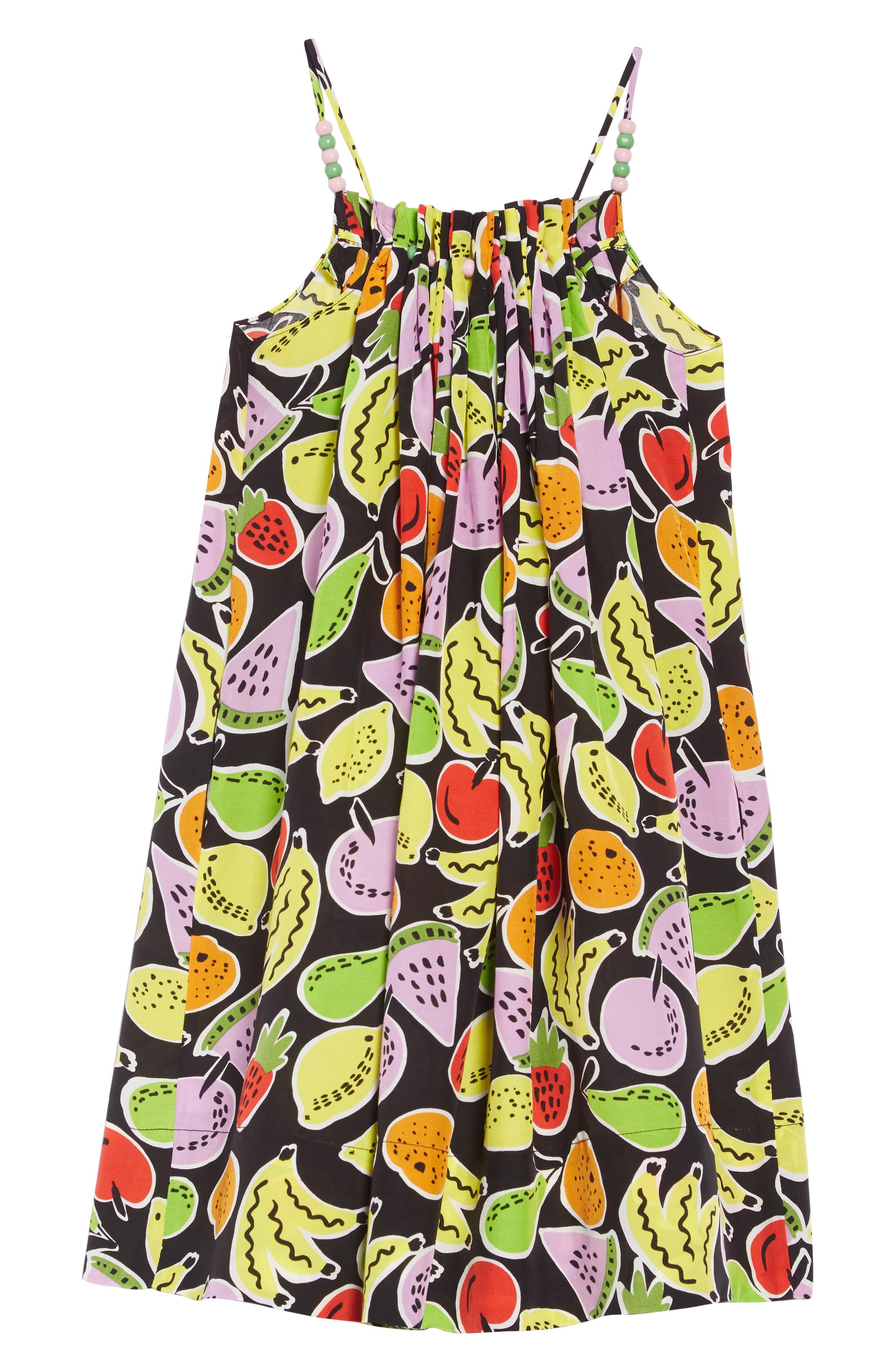 Stella McCartney Fruit Print Sundress,                             Alternate thumbnail 2, color,                             1090 BLACK