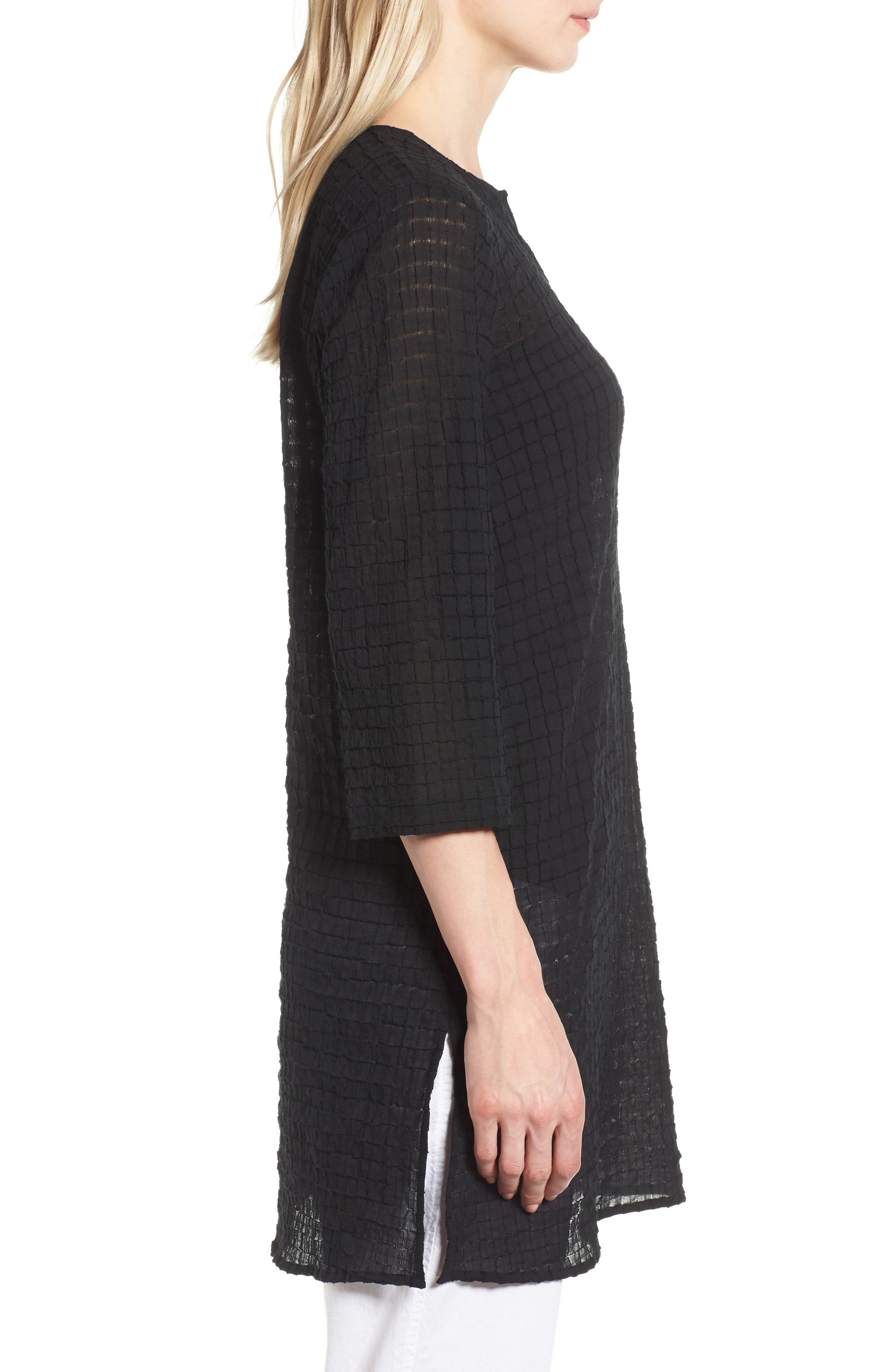 EILEEN FISHER,                             Stretch Organic Cotton Tunic,                             Alternate thumbnail 3, color,                             001