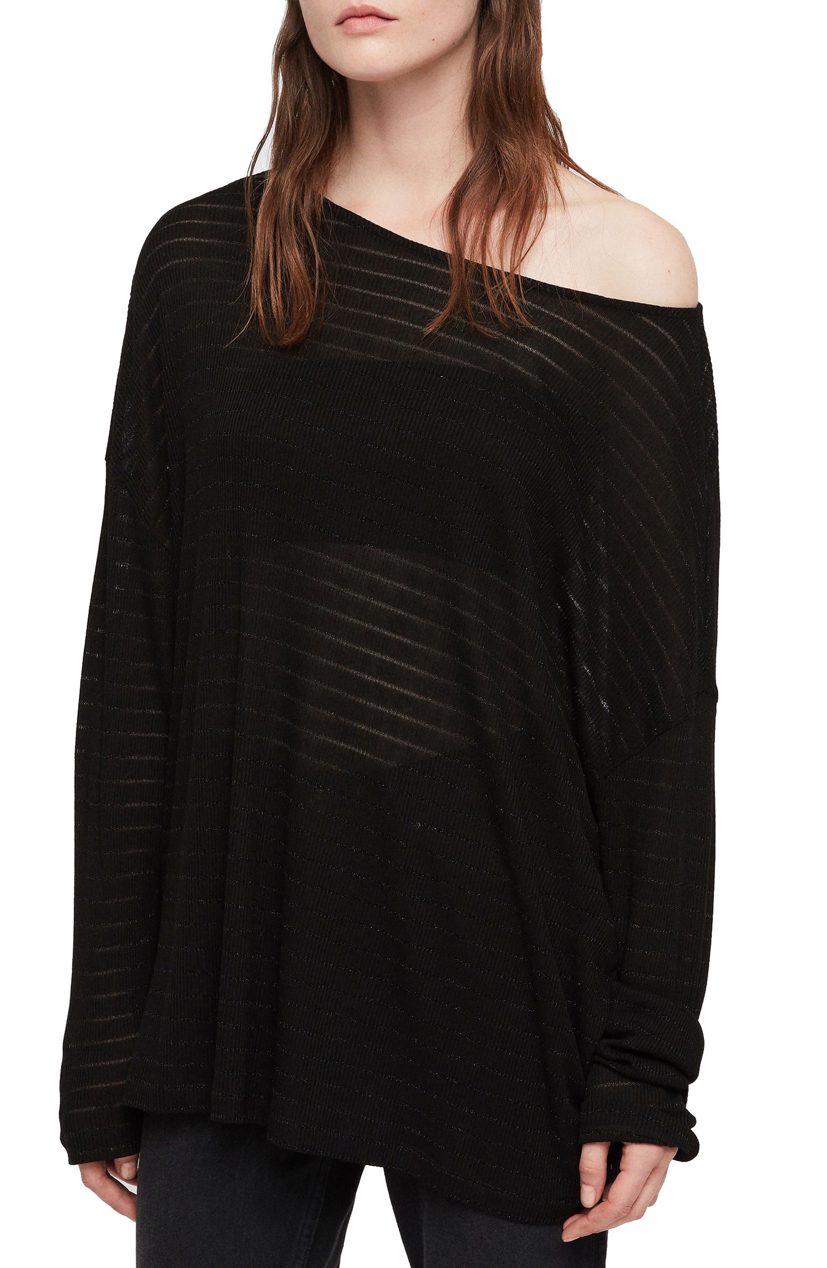 Rita Zandy Metallic-Stripe Tee in Black