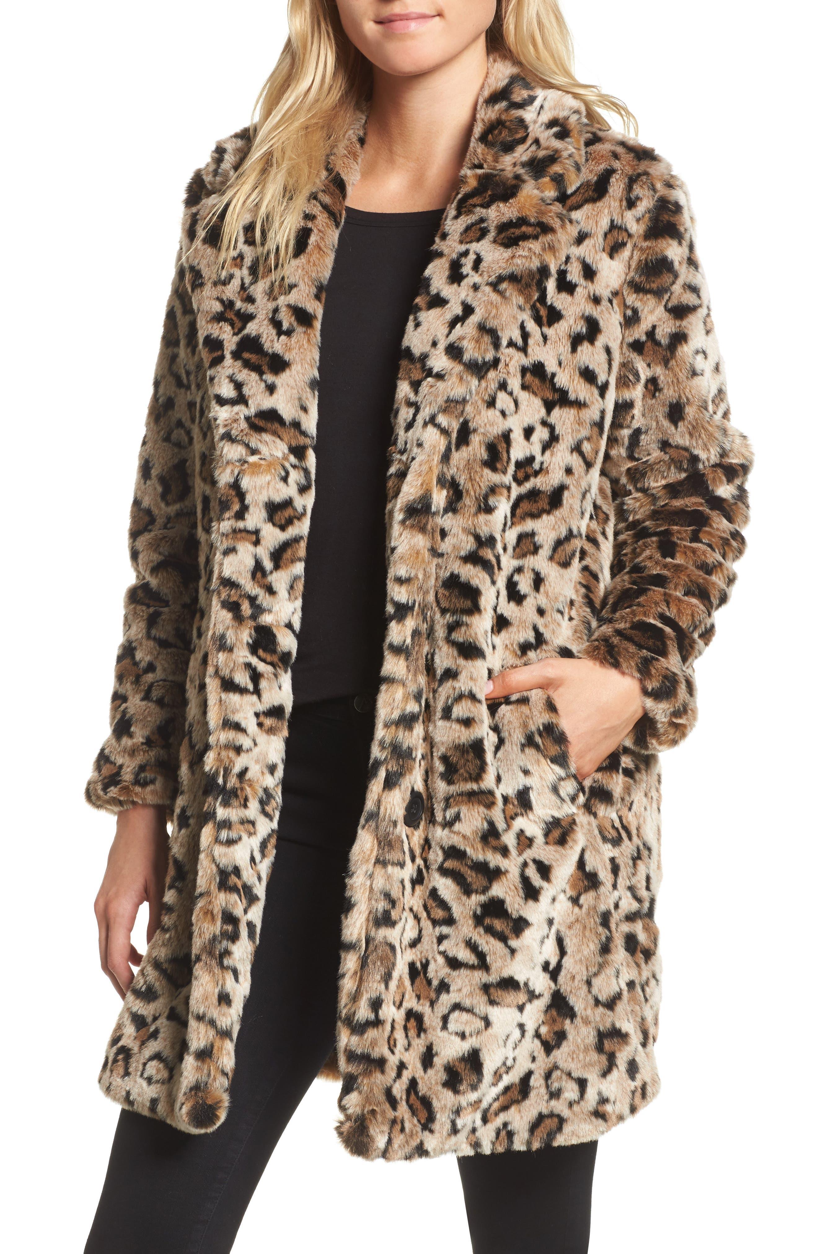 Abeni Faux Fur Coat,                             Main thumbnail 1, color,