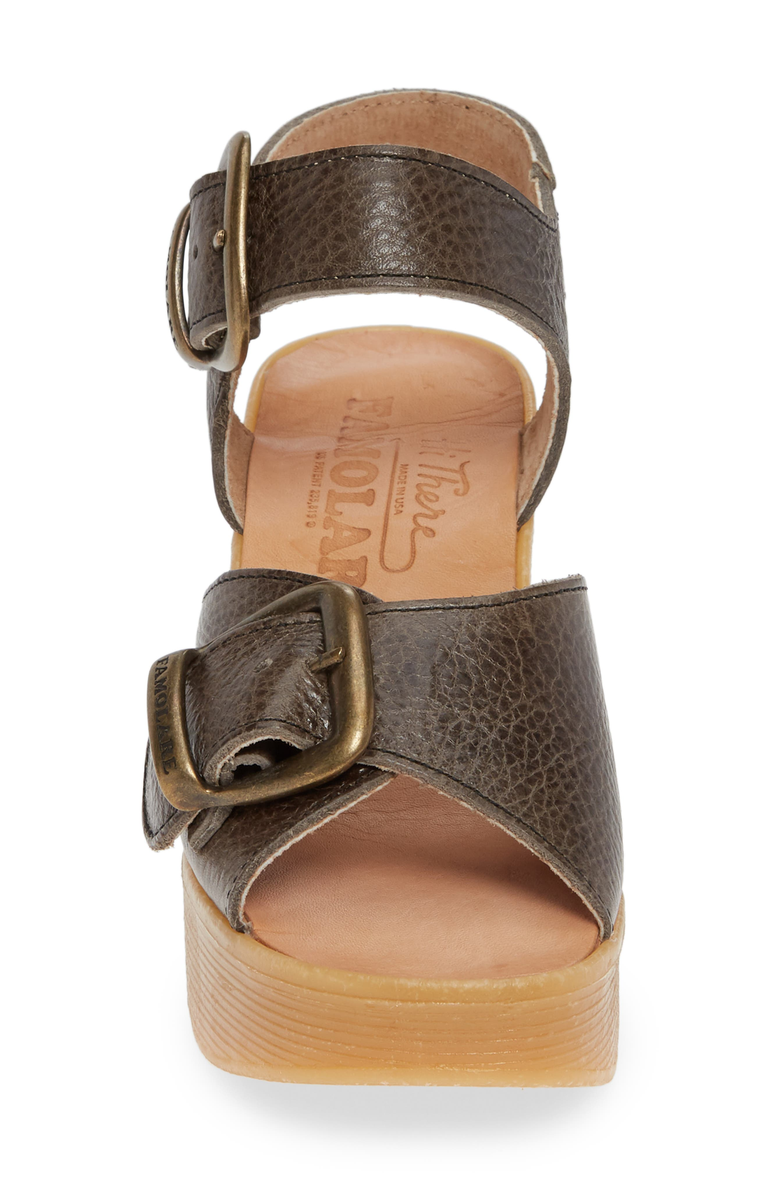 Double Vision Wedge Sandal,                             Alternate thumbnail 4, color,                             STEEL LEATHER