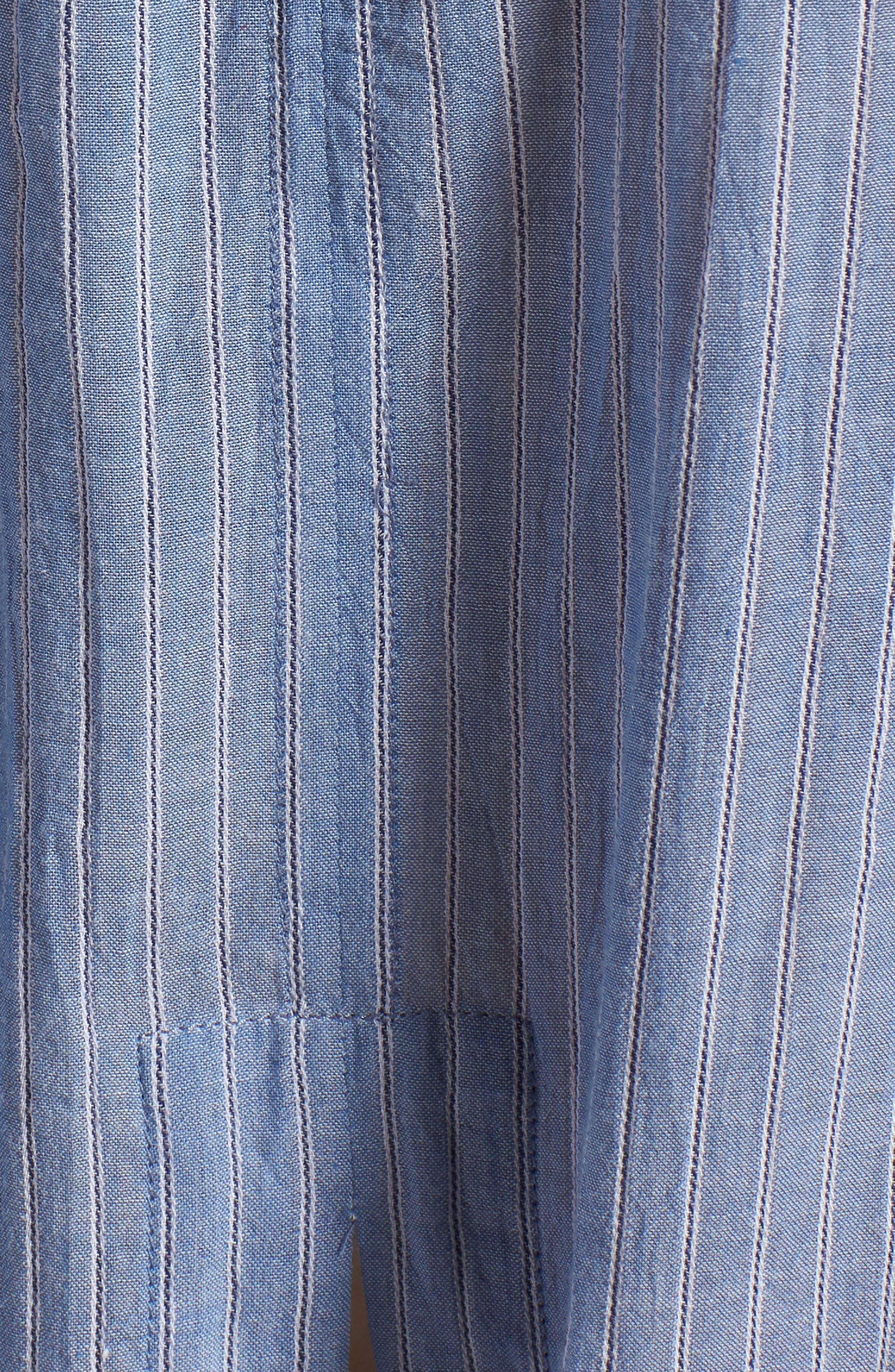 Tie Back Shirt,                             Alternate thumbnail 5, color,                             BLUE AIRY STRIPE