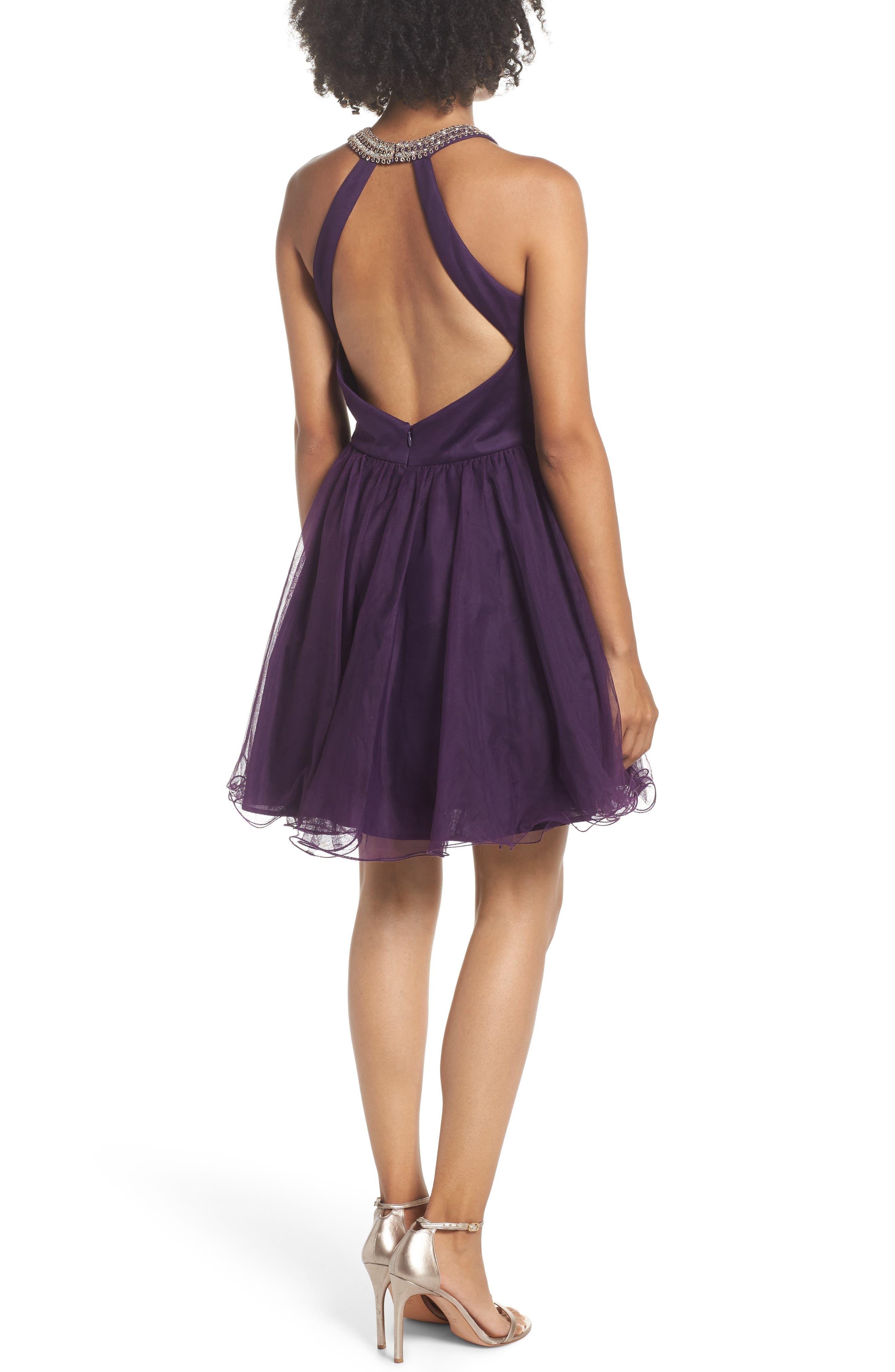 BLONDIE NITES,                             High Neck Appliqué Fit & Flare Dress,                             Alternate thumbnail 2, color,                             522