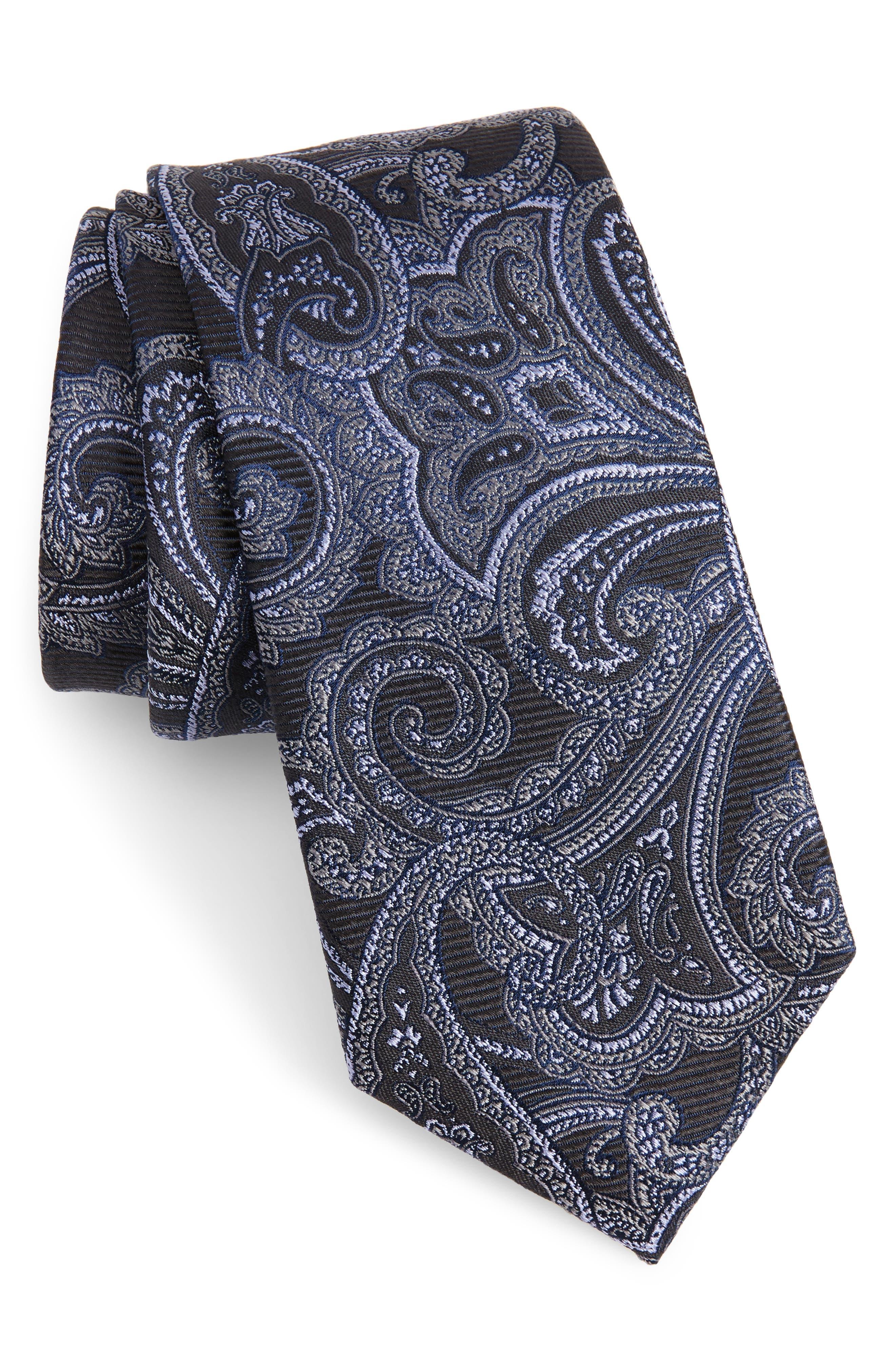 Avalon Paisley Silk Tie,                             Main thumbnail 1, color,                             001