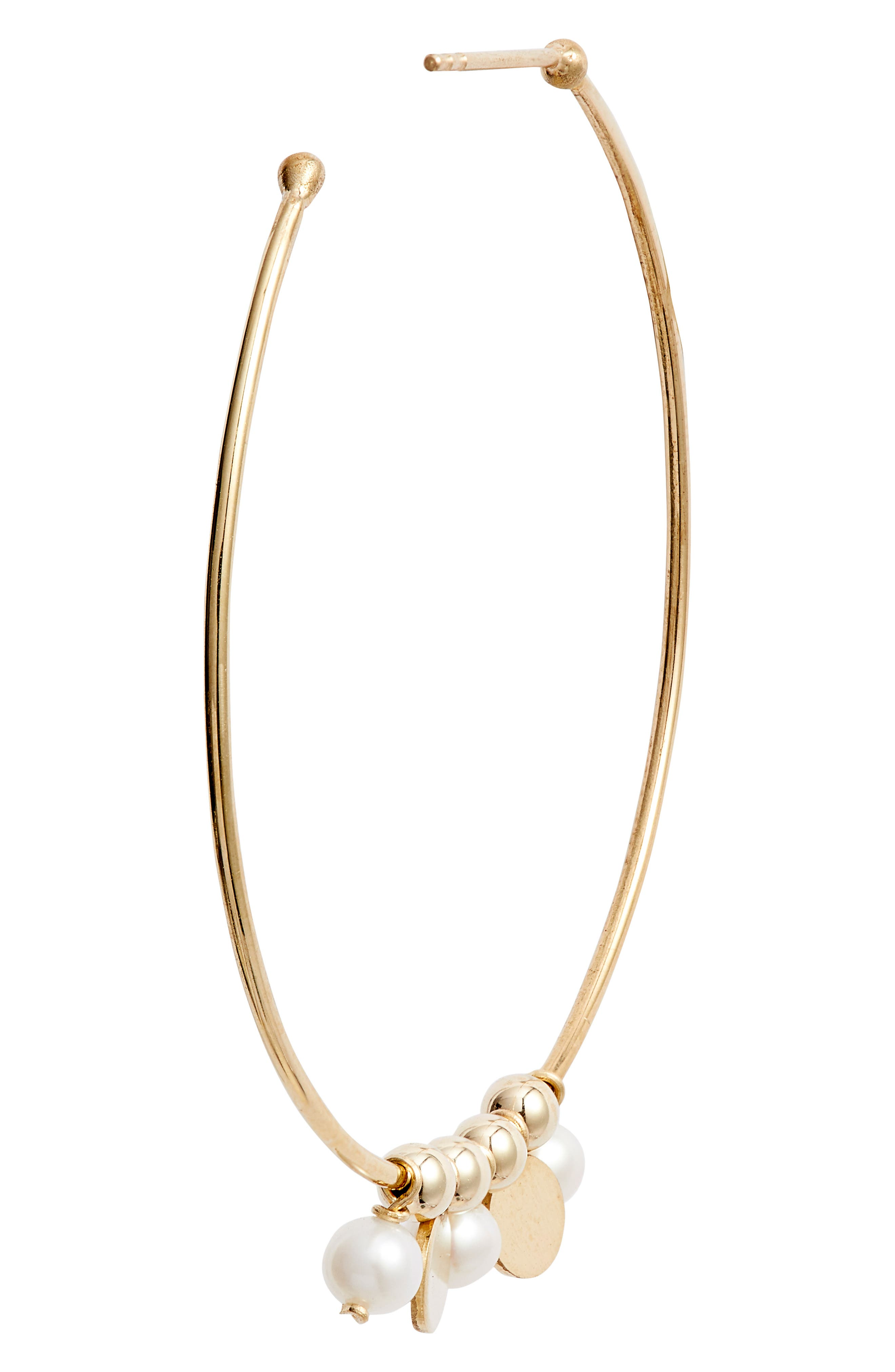 Confetti Pearl Gold Hoop Earrings,                             Alternate thumbnail 3, color,                             YELLOW GOLD/ WHITE PEARL