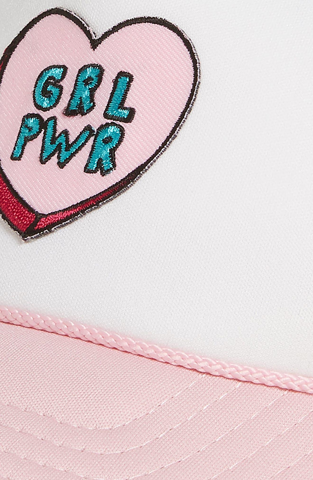 MOTHER TRUCKER & CO.,                             Girl Power Trucker Hat,                             Alternate thumbnail 3, color,                             LT PNK/ WHT