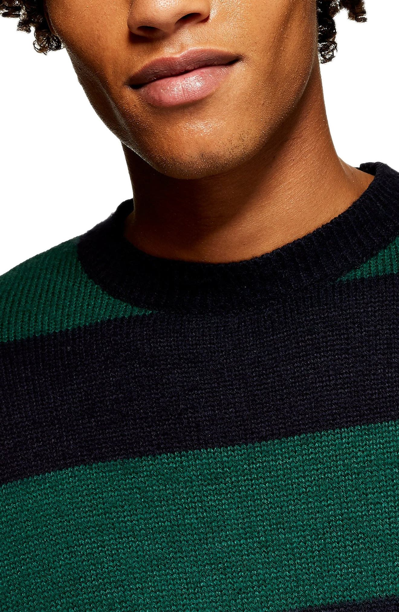 Block Stripe Classic Fit Sweater,                             Alternate thumbnail 3, color,                             GREEN MULTI