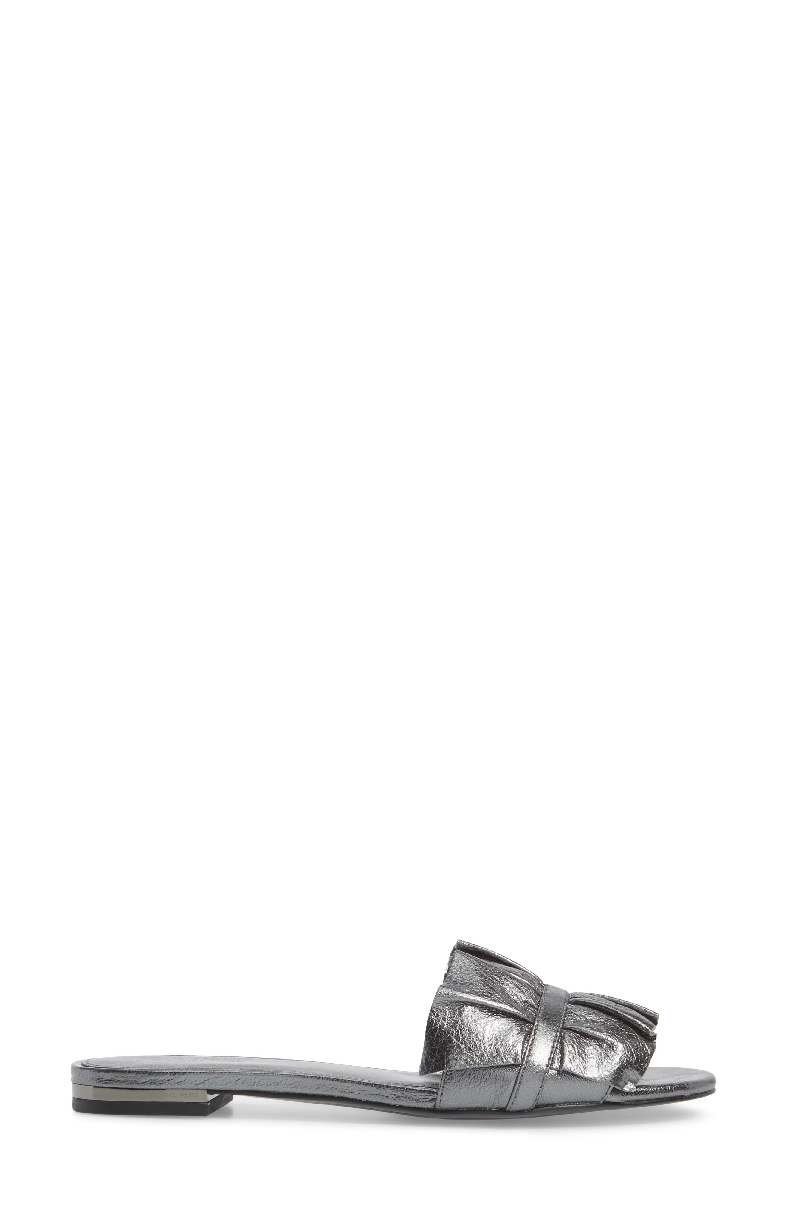 Bella Ruffle Slide Sandal,                             Alternate thumbnail 3, color,                             041