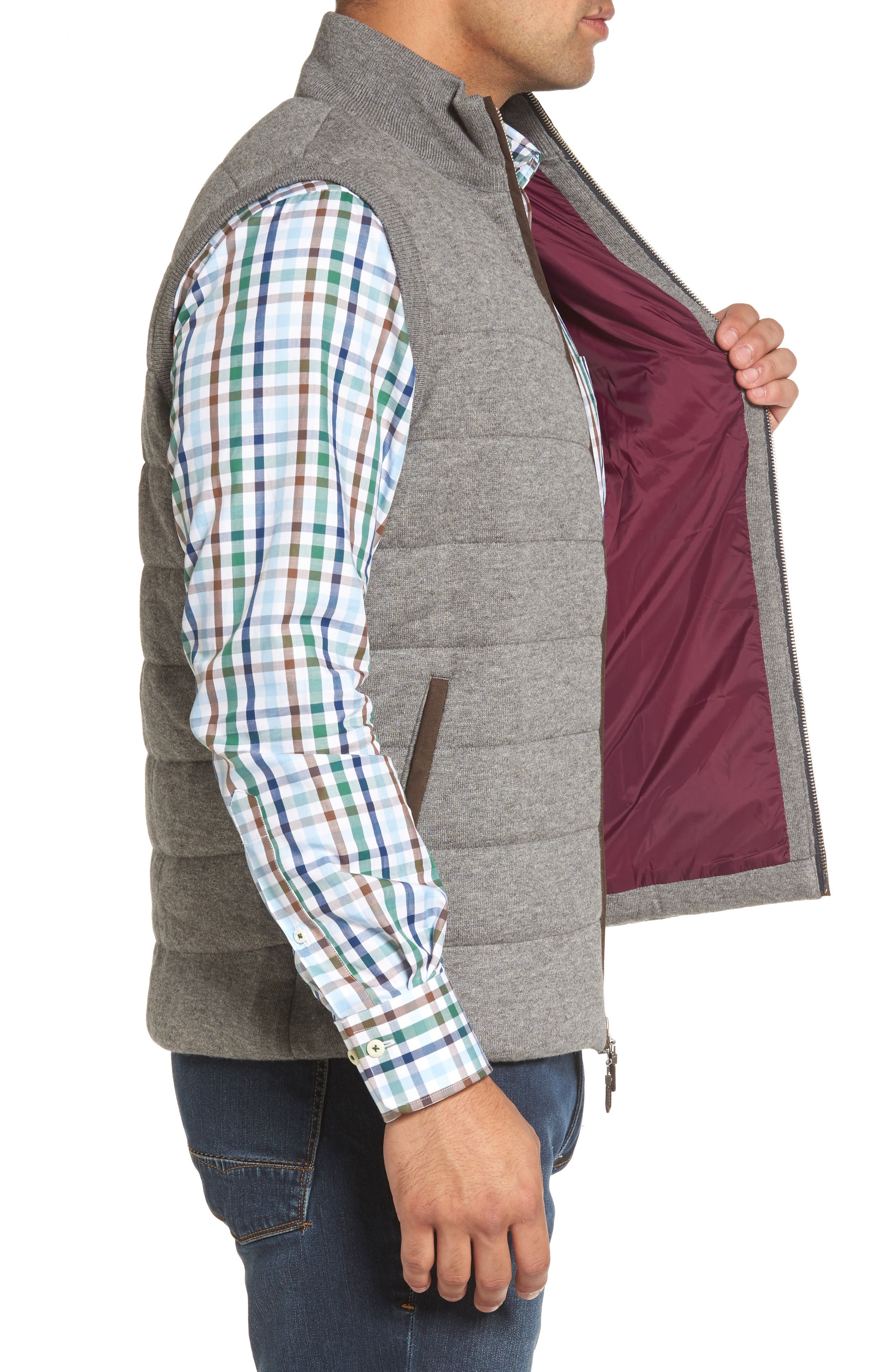 Quilted Wool & Cotton Full Zip Vest,                             Alternate thumbnail 3, color,                             020