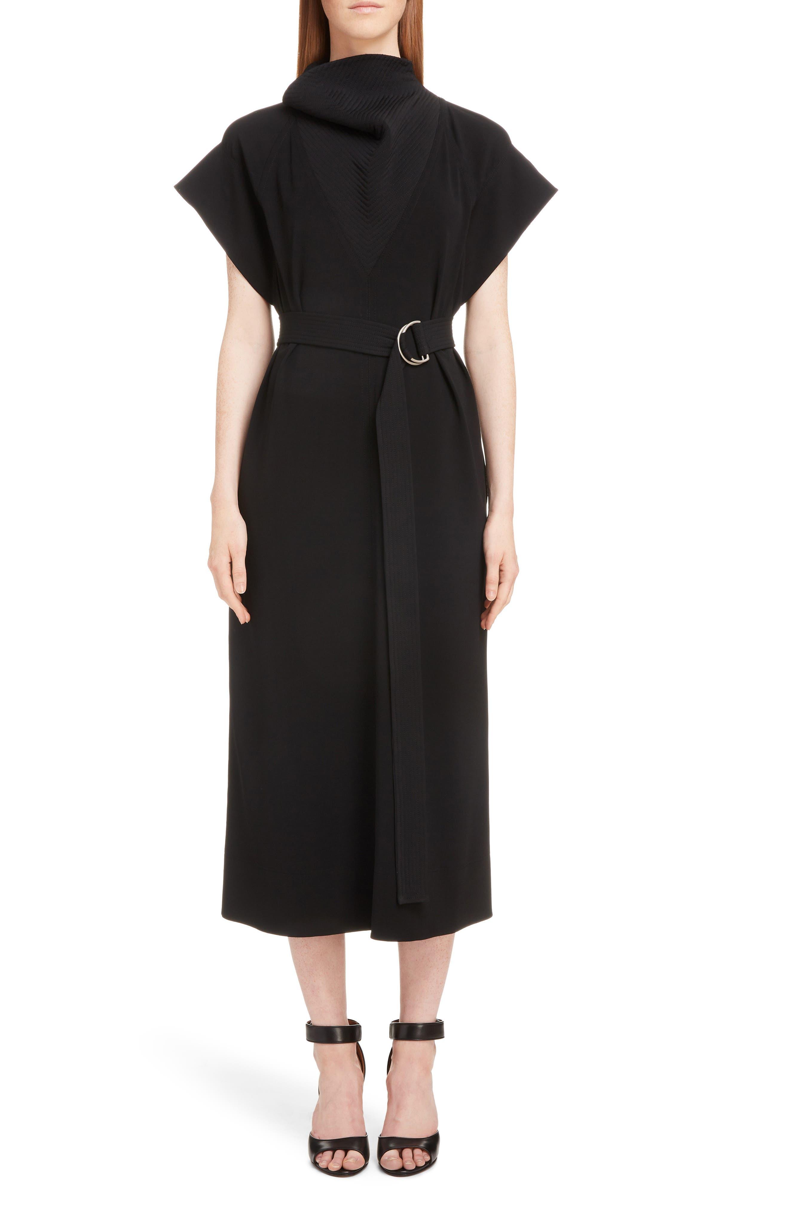 Givenchy Topstitch Jersey A-Line Midi Dress, 8 FR - Black