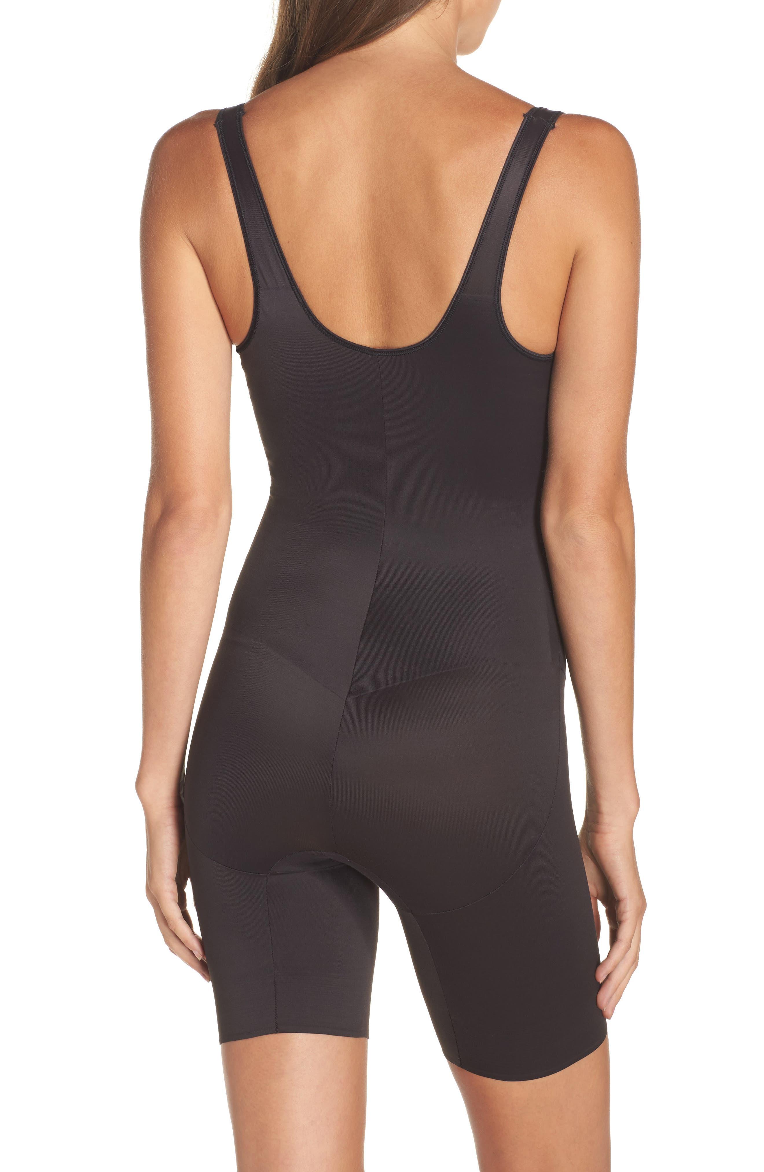 Torsette Underbust Mid Thigh Bodysuit Shaper,                             Alternate thumbnail 3, color,                             BLACK