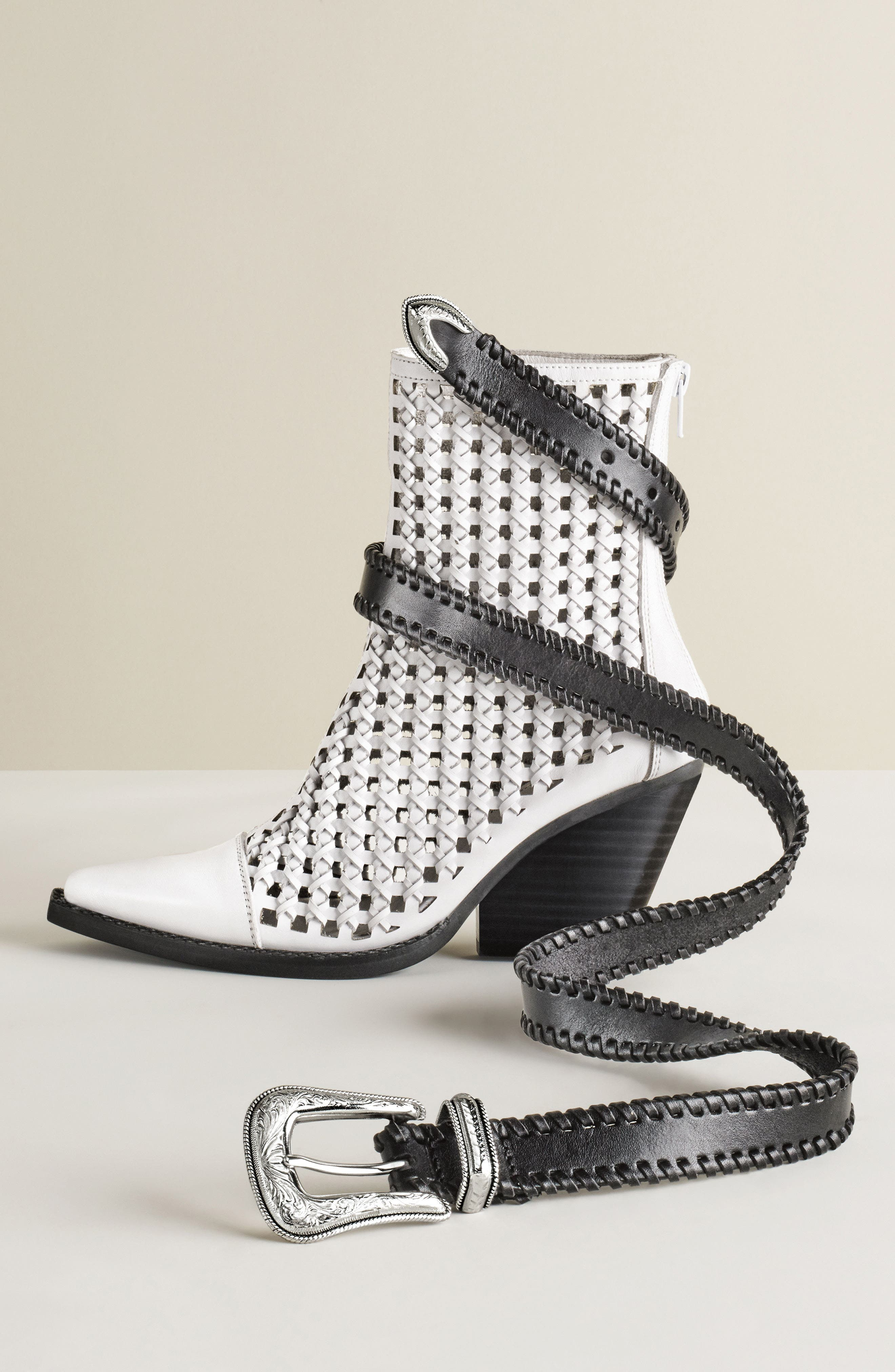 Waven Woven Bootie,                             Alternate thumbnail 9, color,                             WHITE LEATHER
