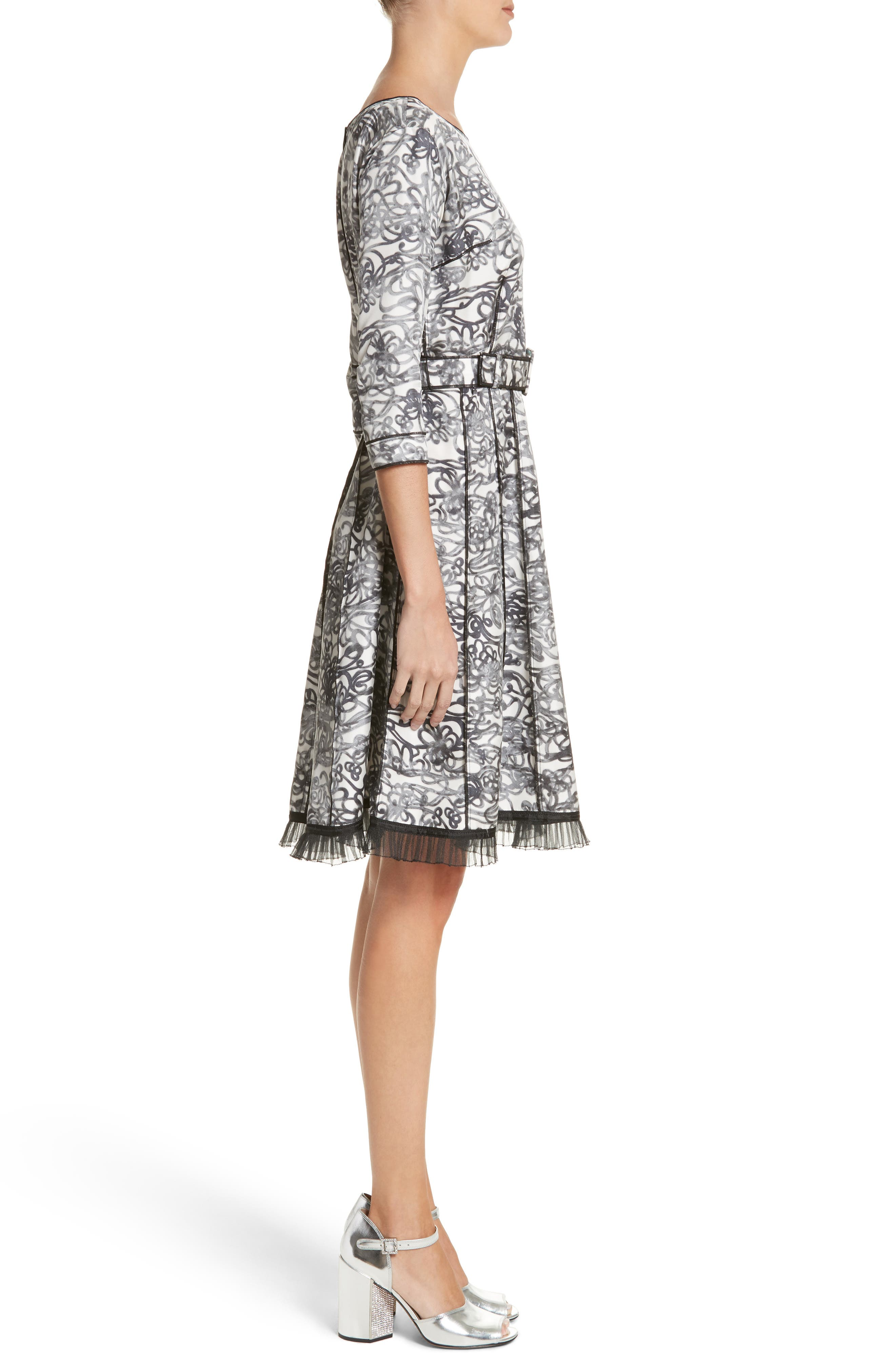Squiggle Print Gored Dress,                             Alternate thumbnail 3, color,                             002