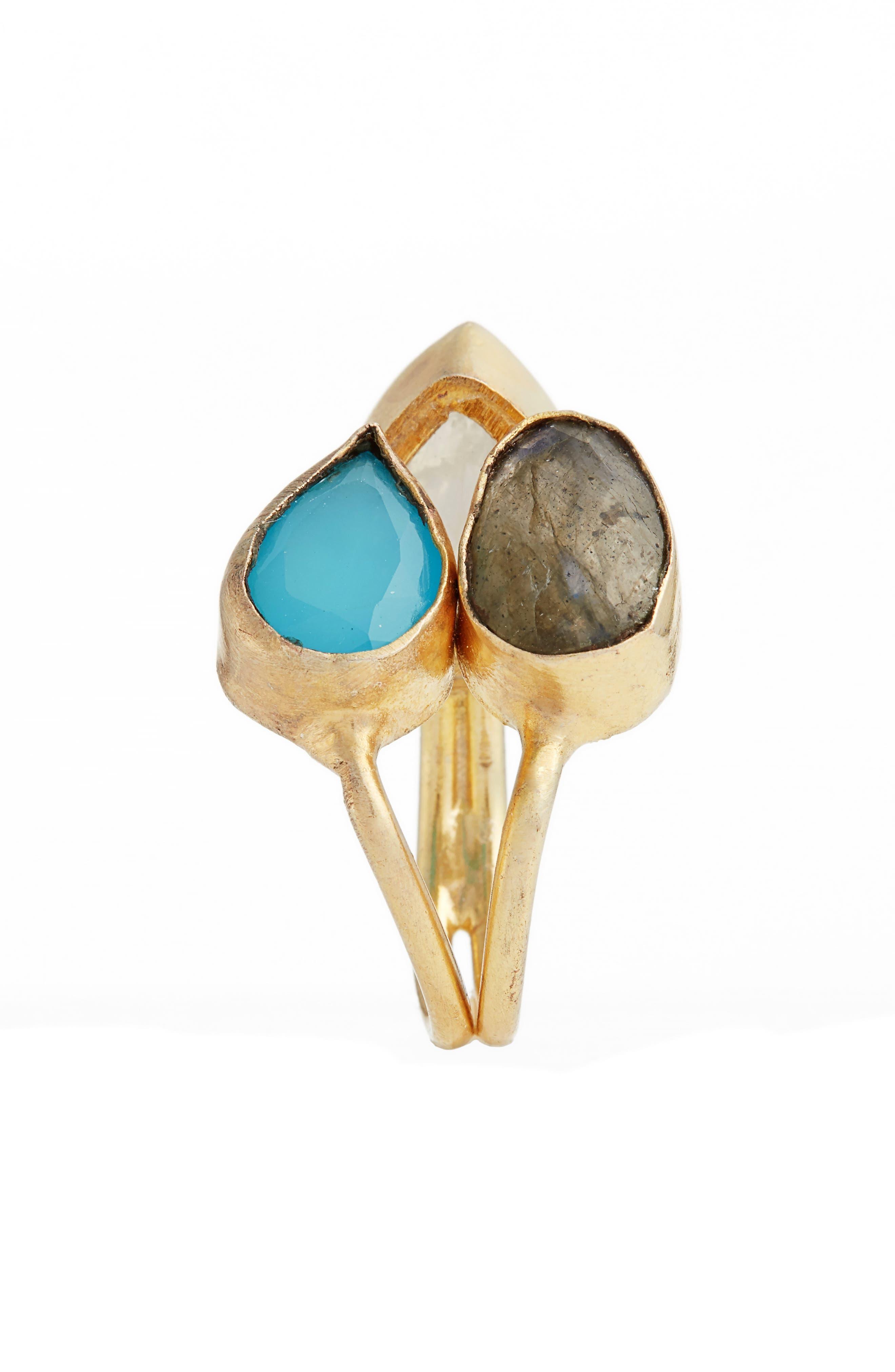 Kinara Moonstone, Labradorite & Chalcedony Ring,                             Alternate thumbnail 2, color,                             710