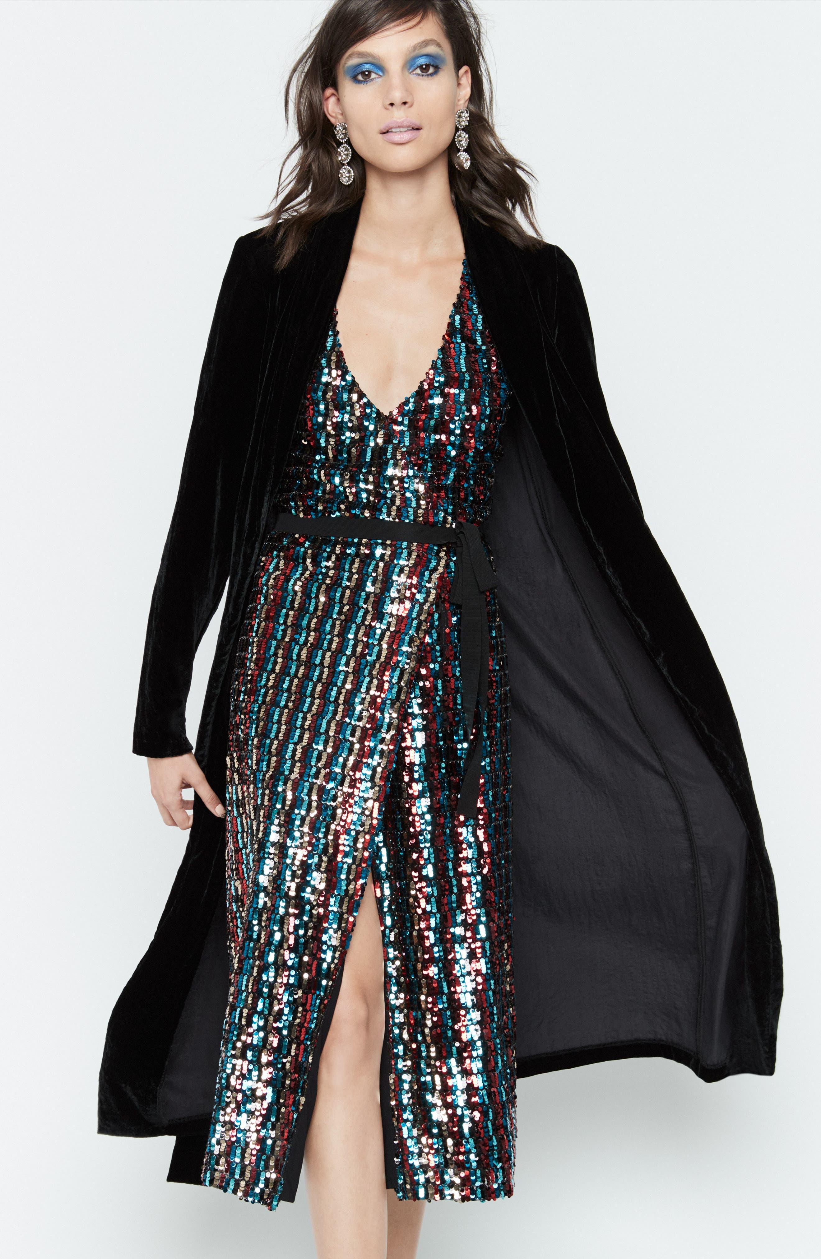 Multicolor Sequin Wrap Dress,                             Alternate thumbnail 11, color,                             MERLOT GOLD