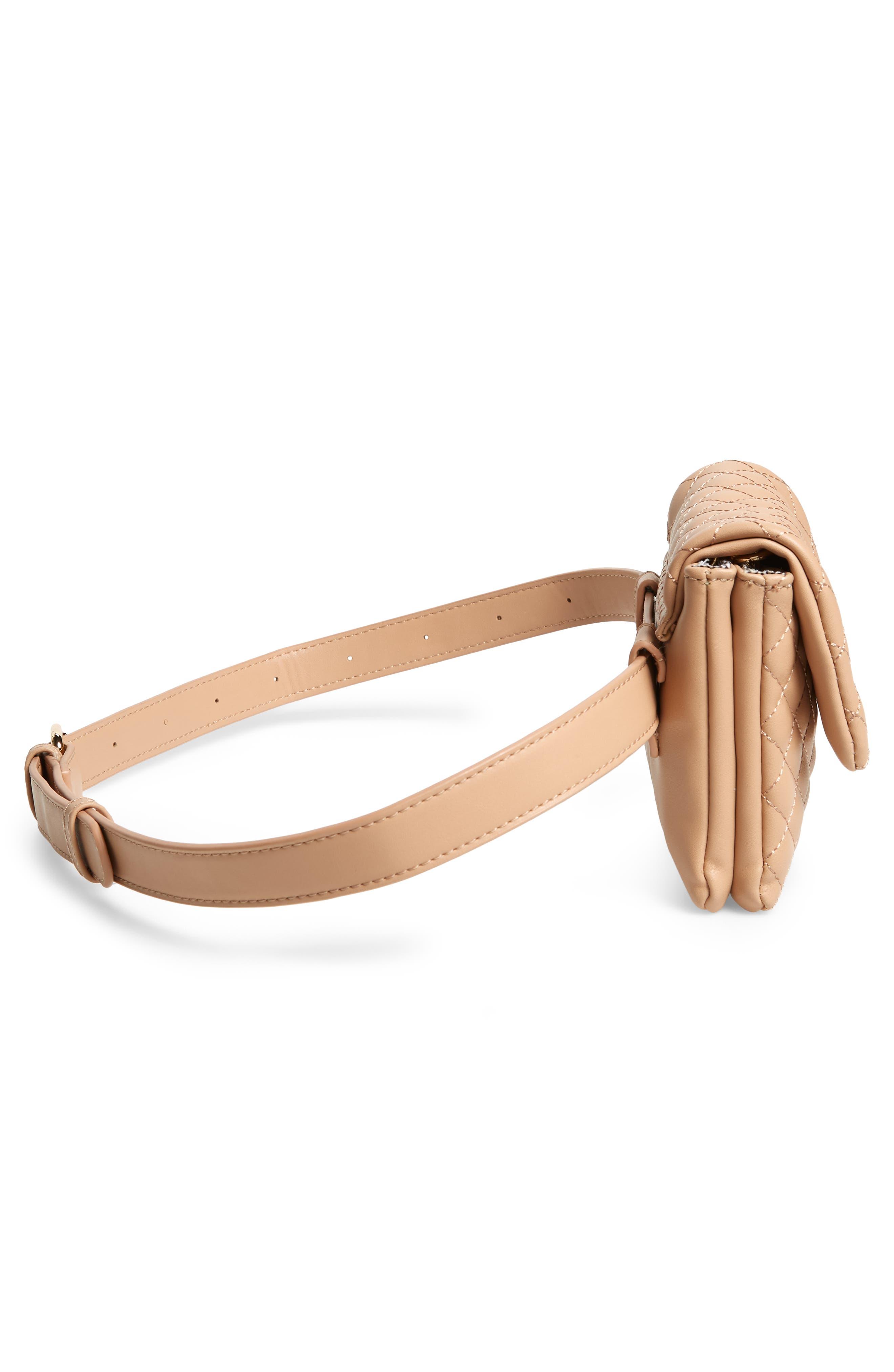Mali + Lili Quilted Vegan Leather Belt Bag,                             Alternate thumbnail 6, color,                             CAMEL