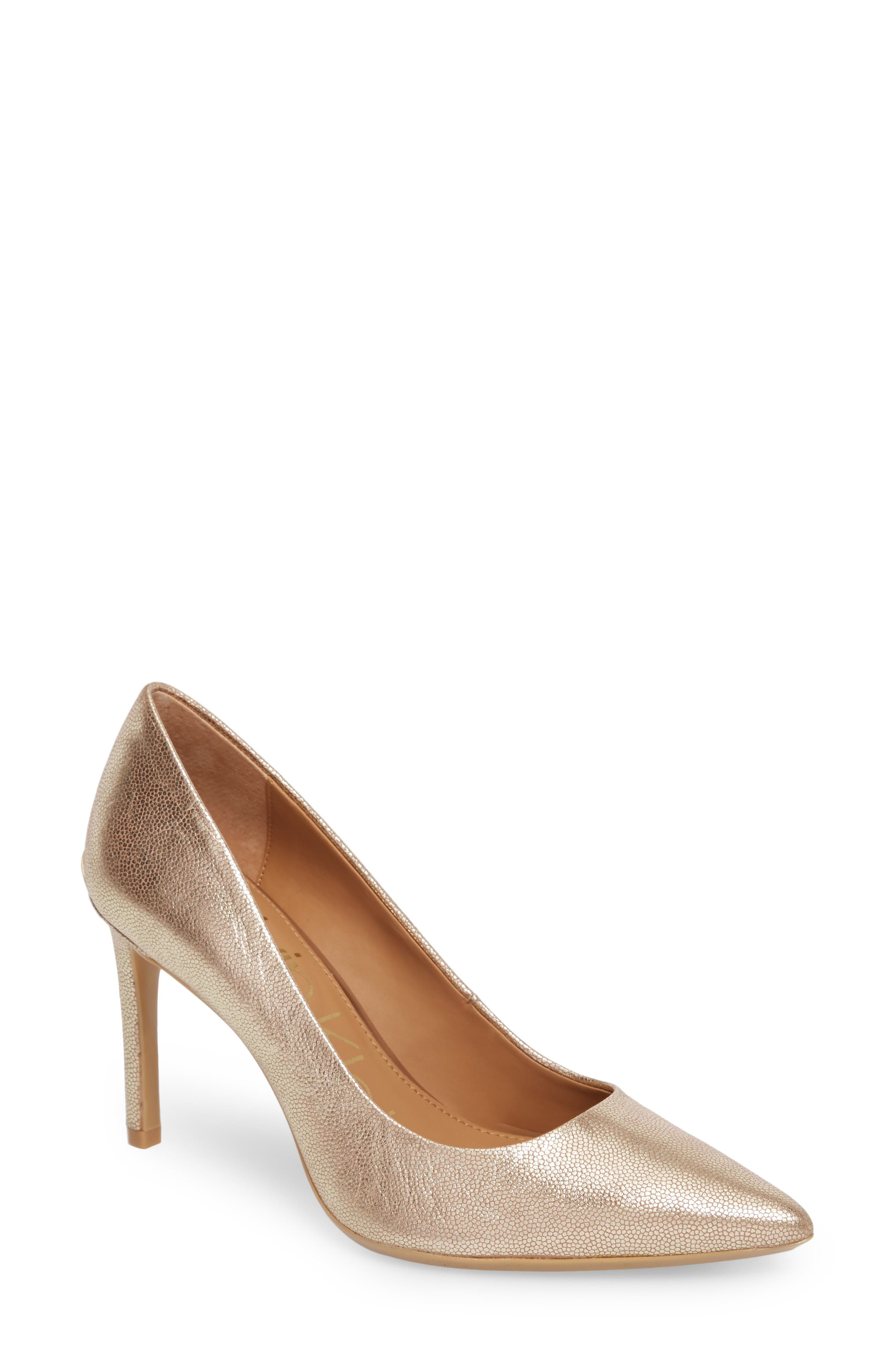 Ronna Pointy Toe Pump,                             Main thumbnail 1, color,                             PLATINUM LEATHER