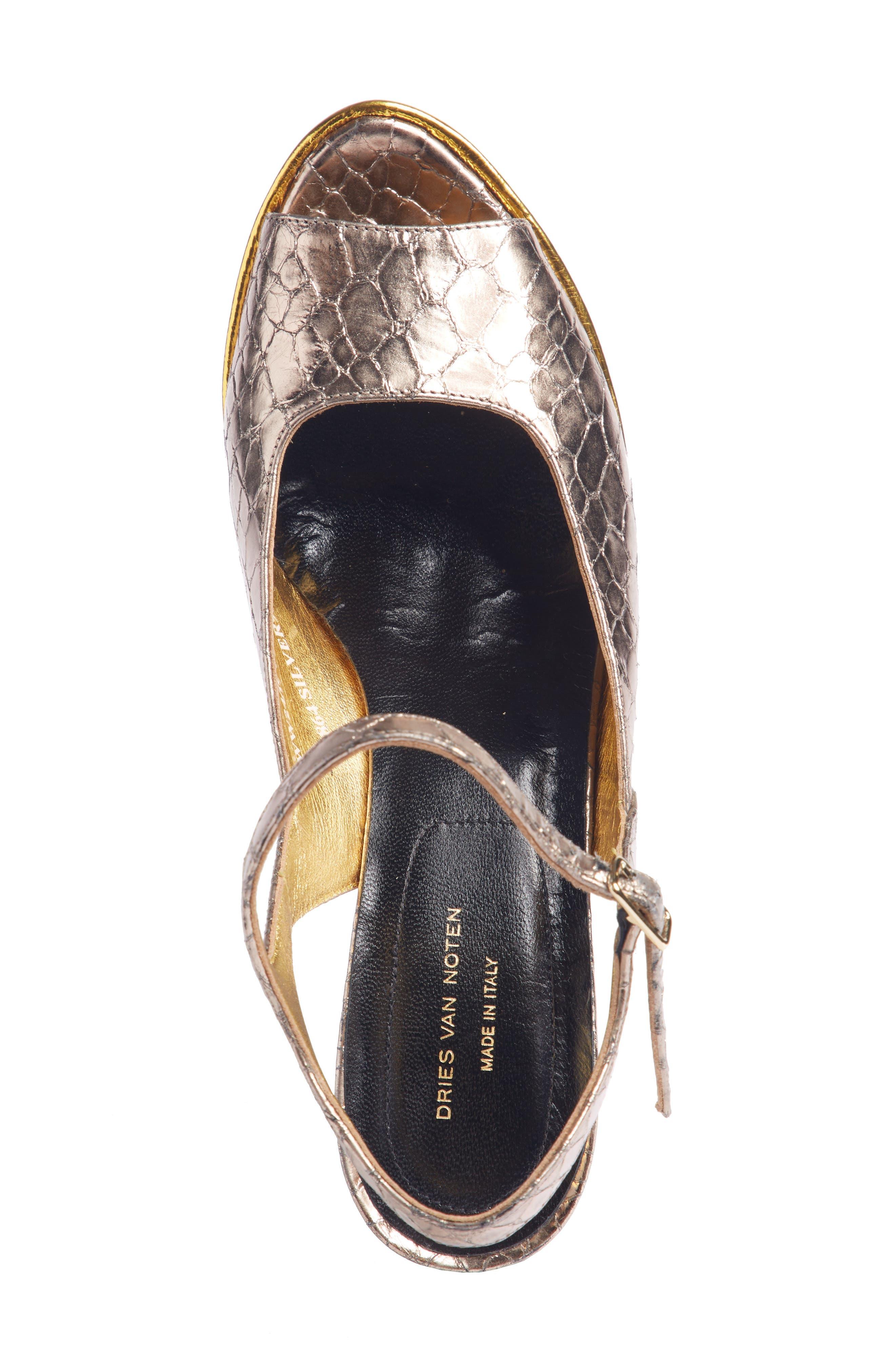 Wave Heel Platform Sandal,                             Alternate thumbnail 4, color,                             SILVER