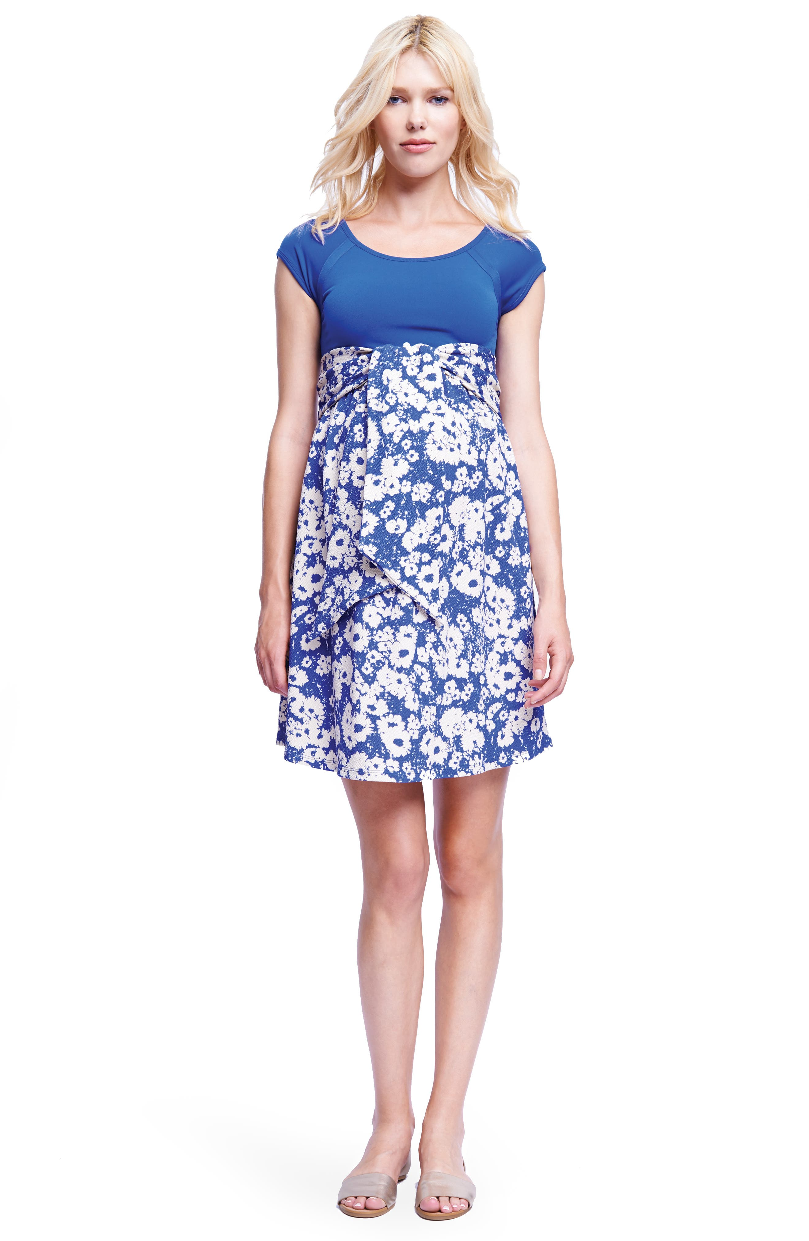Tie Front Maternity Dress,                             Alternate thumbnail 4, color,                             ROYAL BLUE/ ABSTRACT DAISY