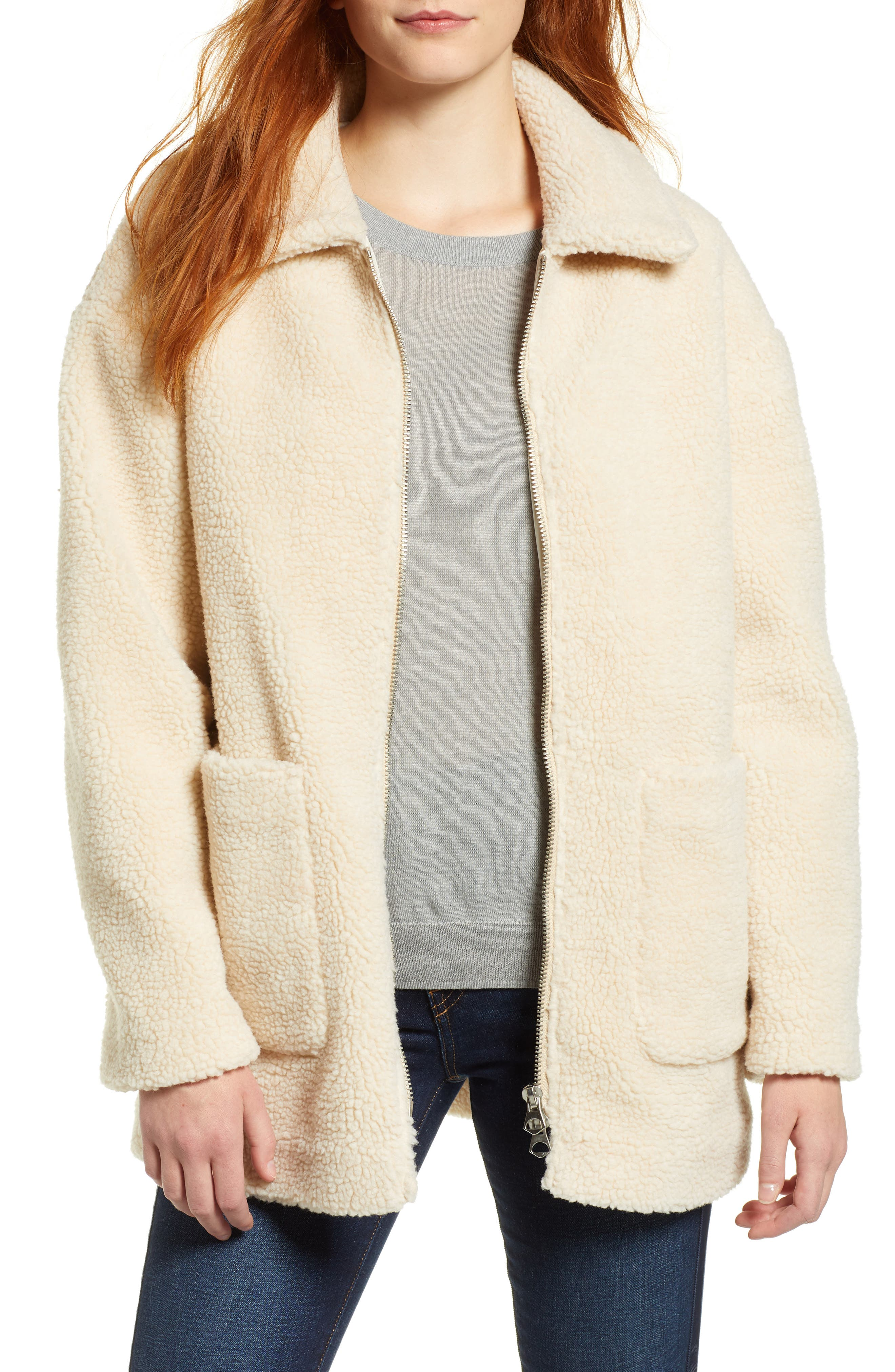Zip Front Teddy Coat,                             Main thumbnail 1, color,                             IVORY