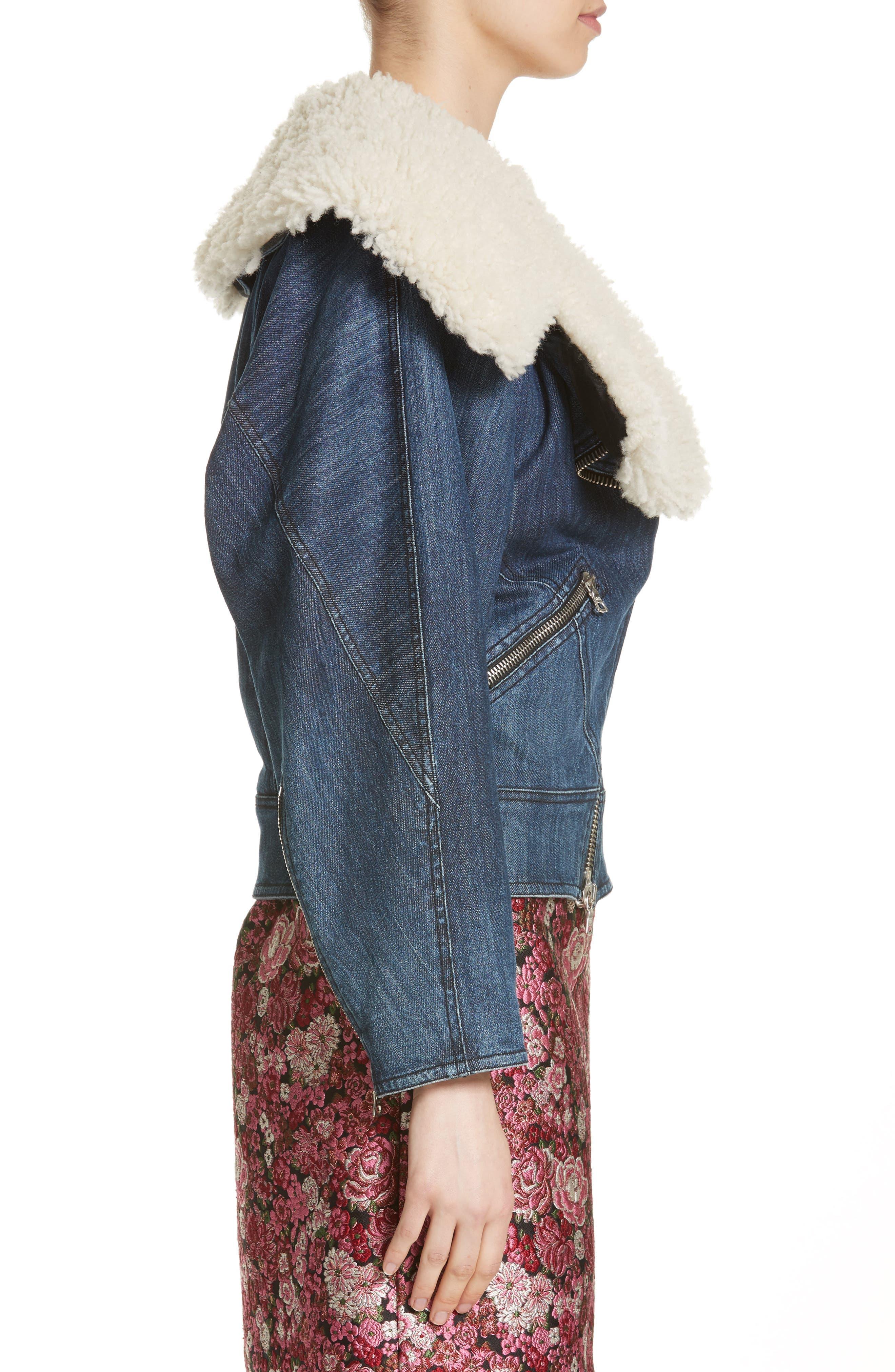 Stretch Denim Moto Jacket with Removable Genuine Lamb Fur Collar,                             Alternate thumbnail 3, color,                             403