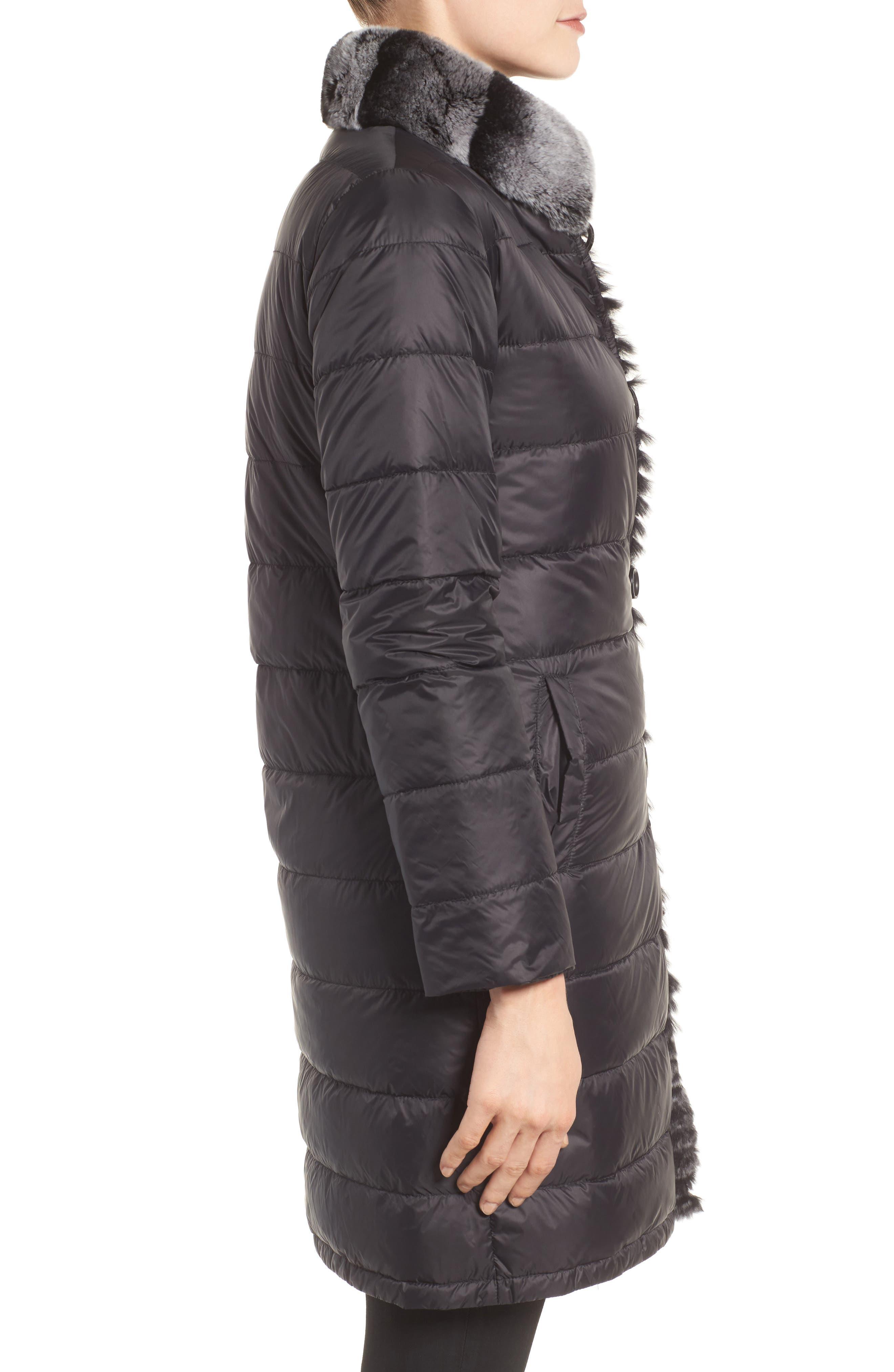 Reversible Genuine Rabbit Fur & Down Coat,                             Alternate thumbnail 3, color,                             BLACK