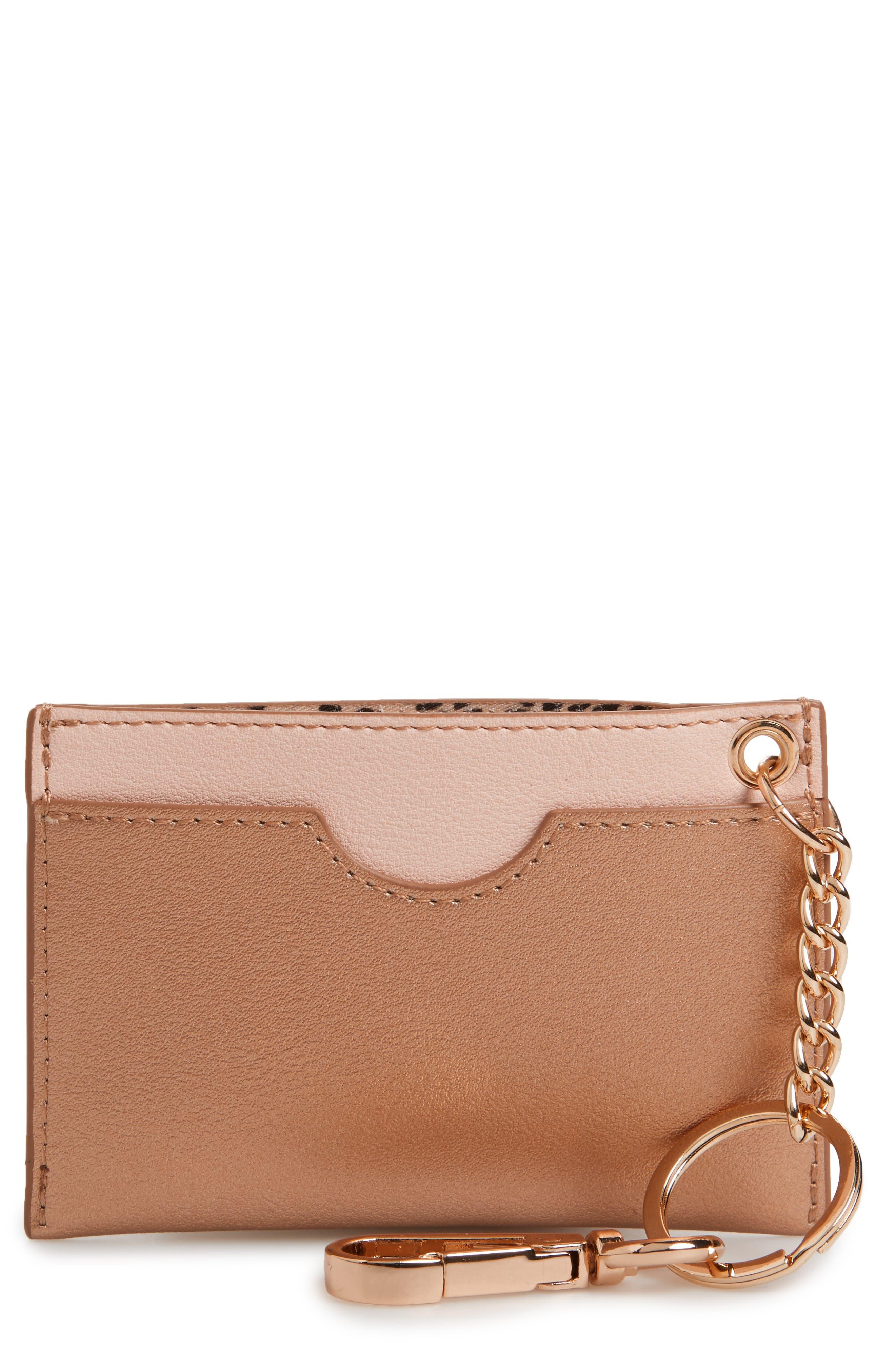 Metallic Faux Leather Key Chain Card Case,                             Main thumbnail 1, color,                             710