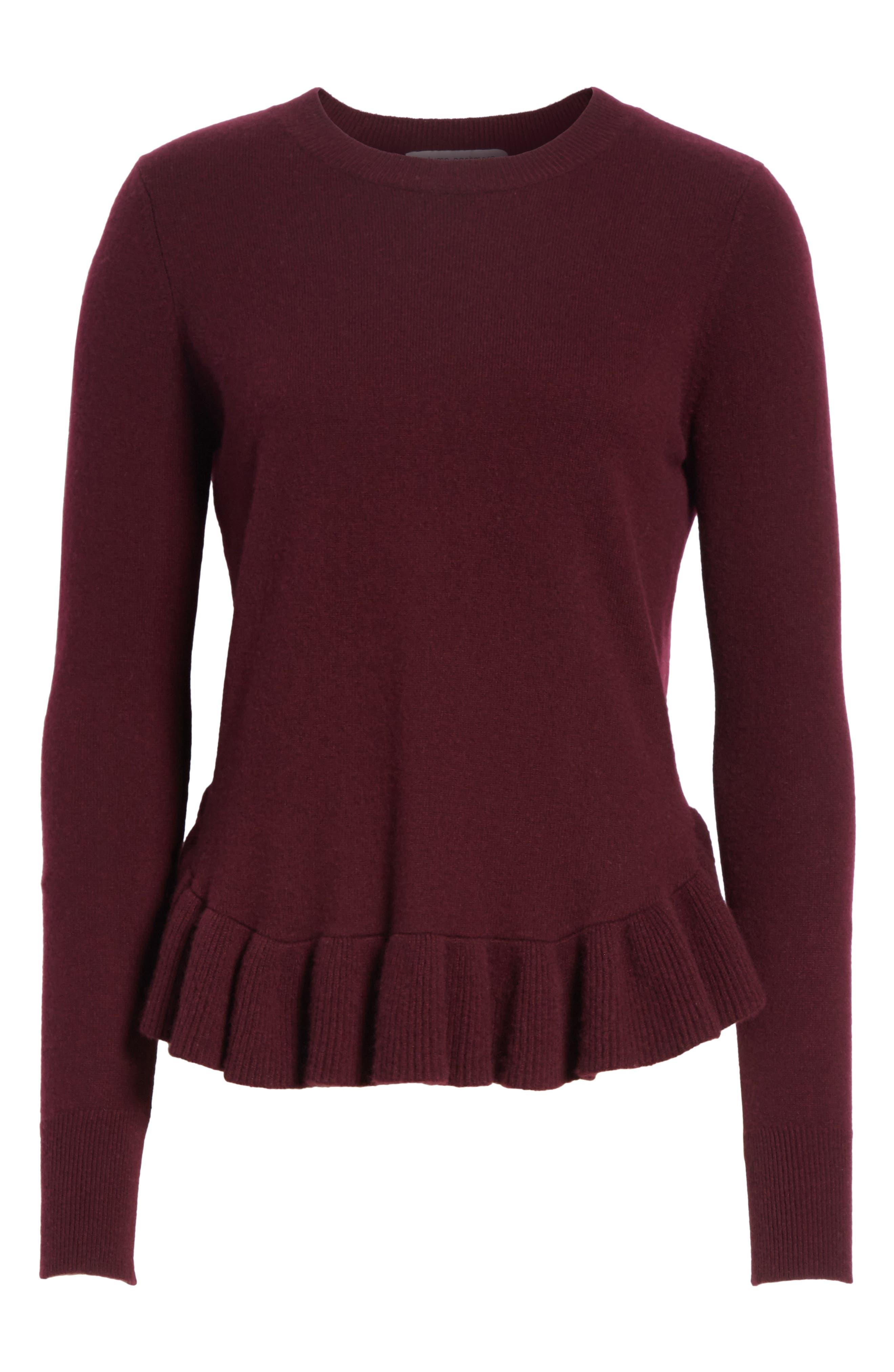 Ruffle Hem Crewneck Sweater,                             Alternate thumbnail 6, color,