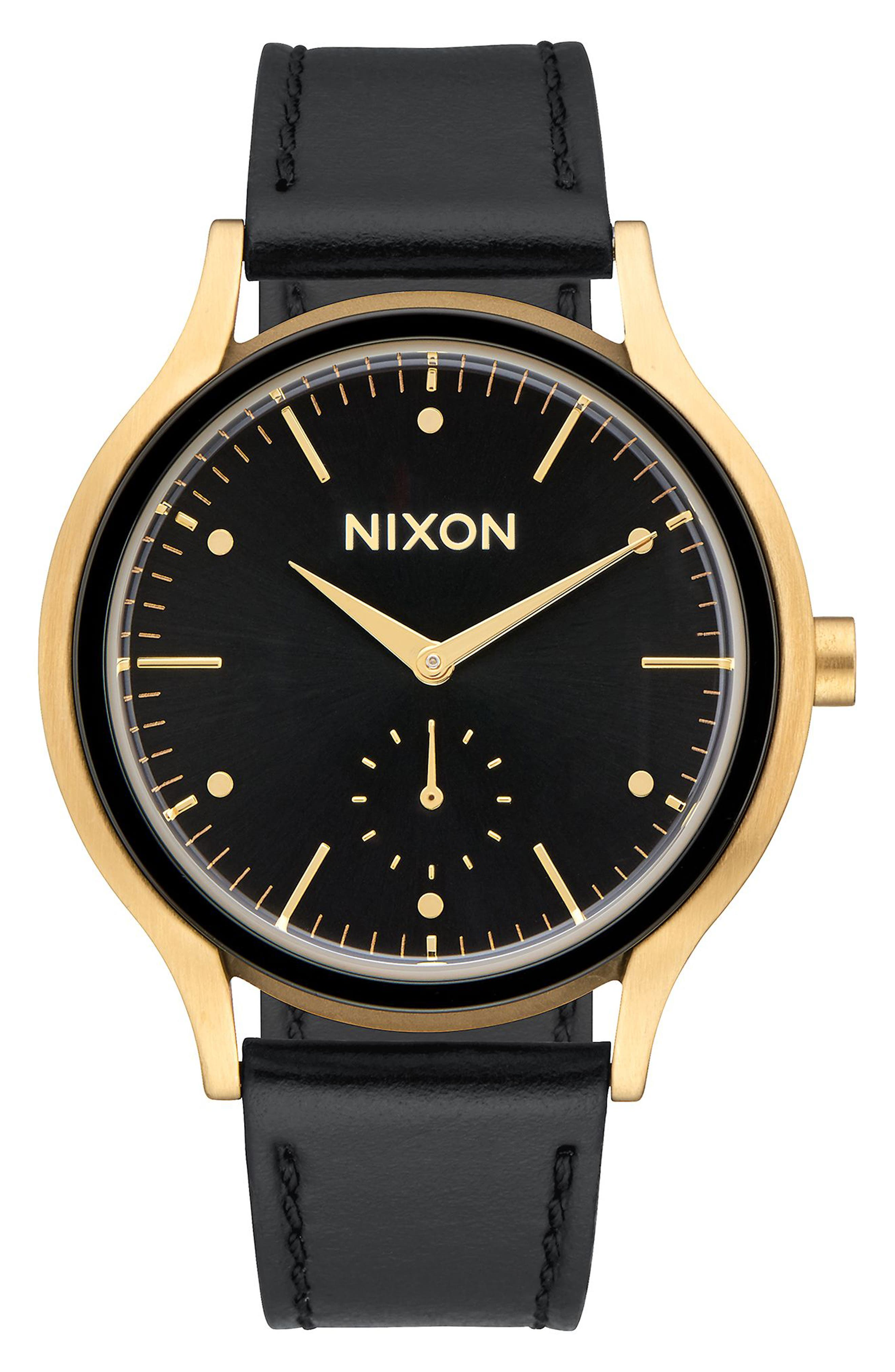 Sala Leather Strap Watch, 38mm,                             Main thumbnail 1, color,                             BLACK/ GOLD