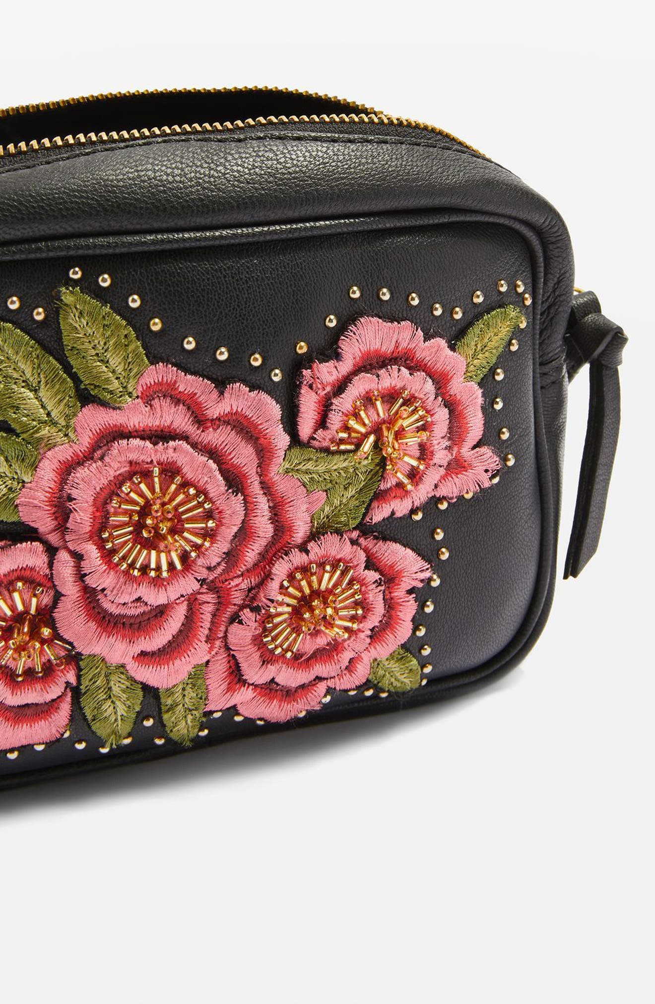 Floral Embroidered Leather Crossbody Bag,                             Alternate thumbnail 4, color,                             001