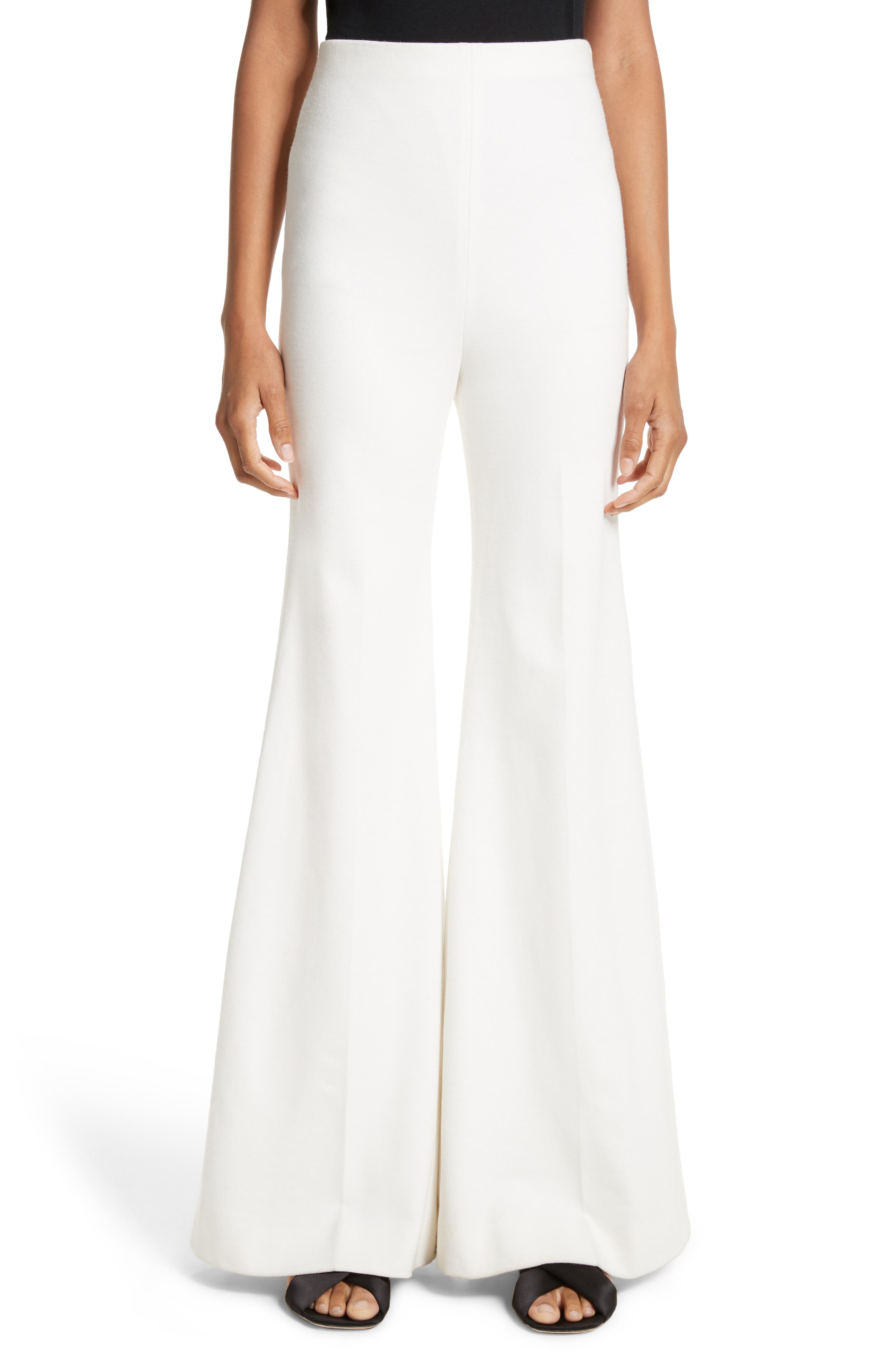 Rosetta Getty Jersey Flare Pants, Ivory
