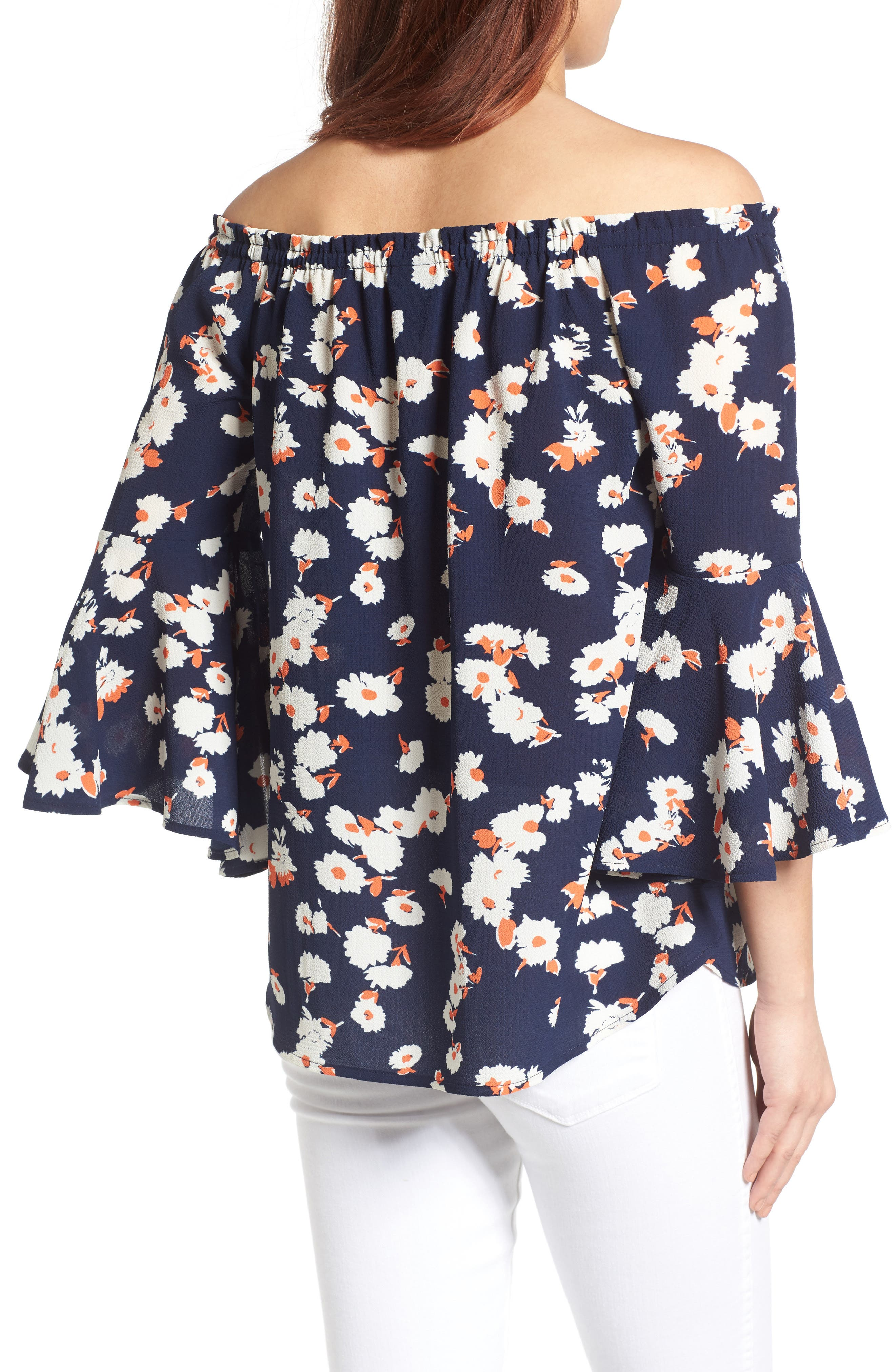 Bell Sleeve Off the Shoulder Blouse,                             Alternate thumbnail 5, color,