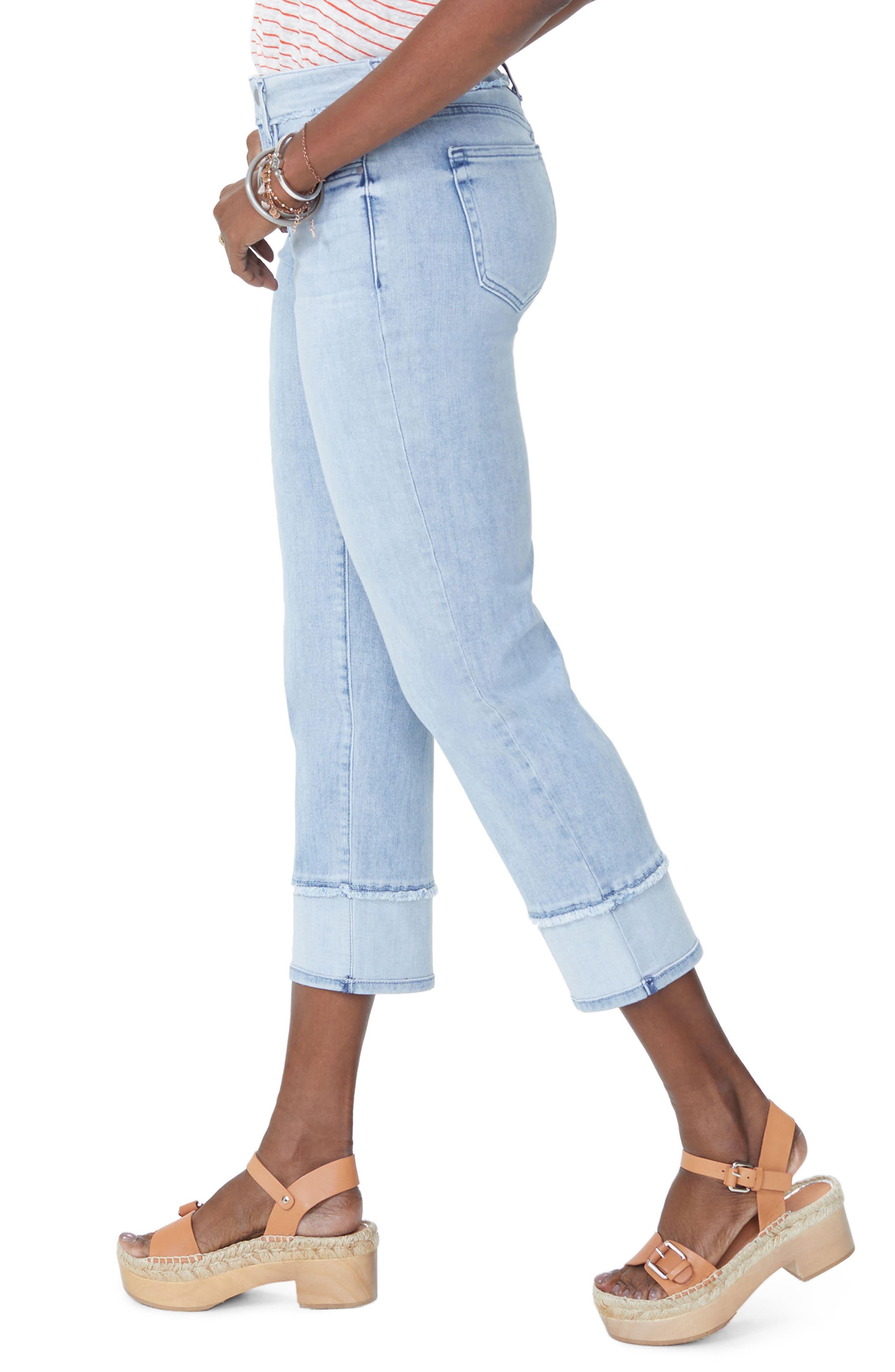 NYDJ,                             Jenna High Waist Straight Leg Reverse Fray Ankle Jeans,                             Alternate thumbnail 3, color,                             421