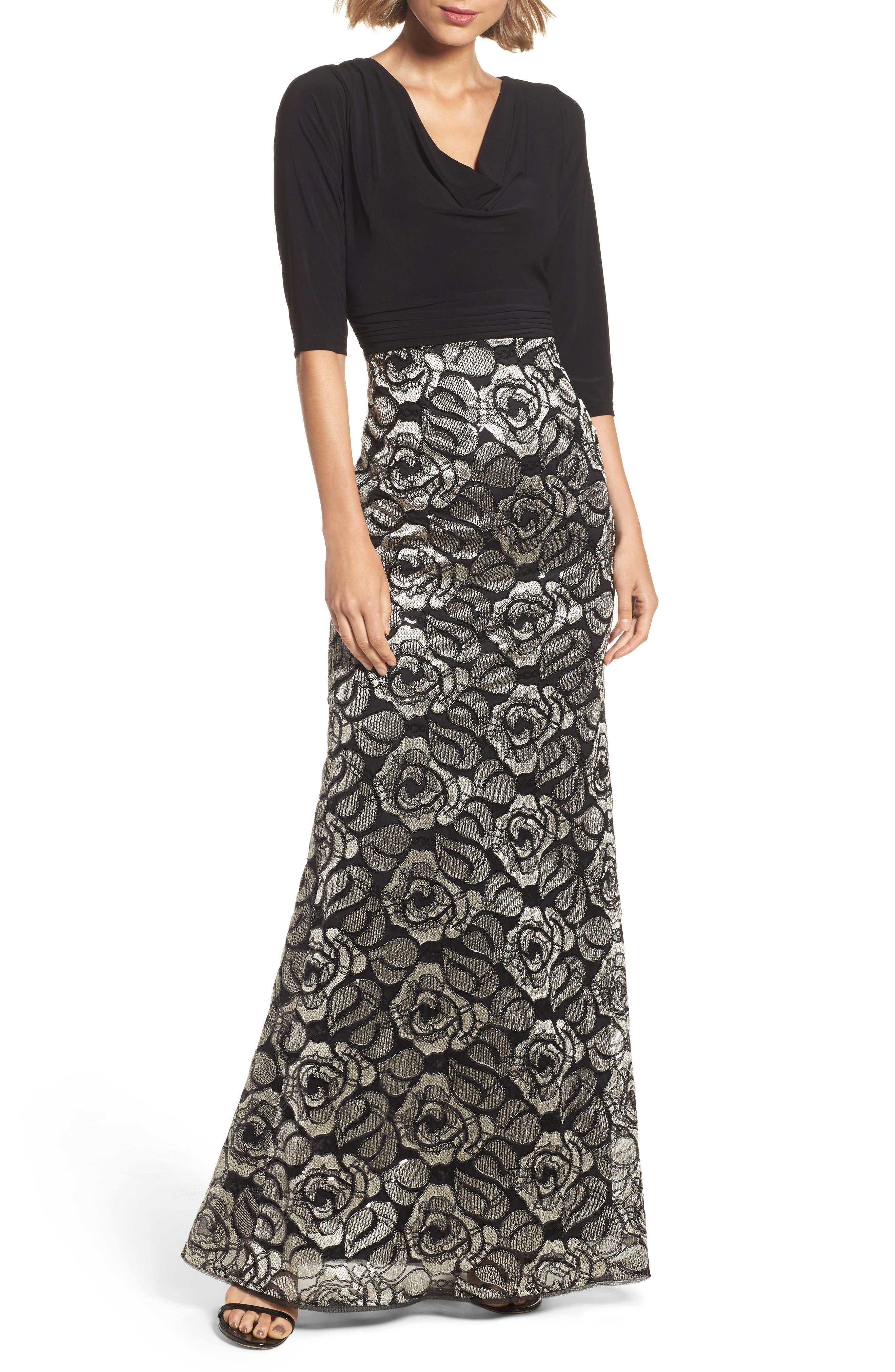 Cowl Neck Rose Lace Gown,                             Main thumbnail 1, color,                             018