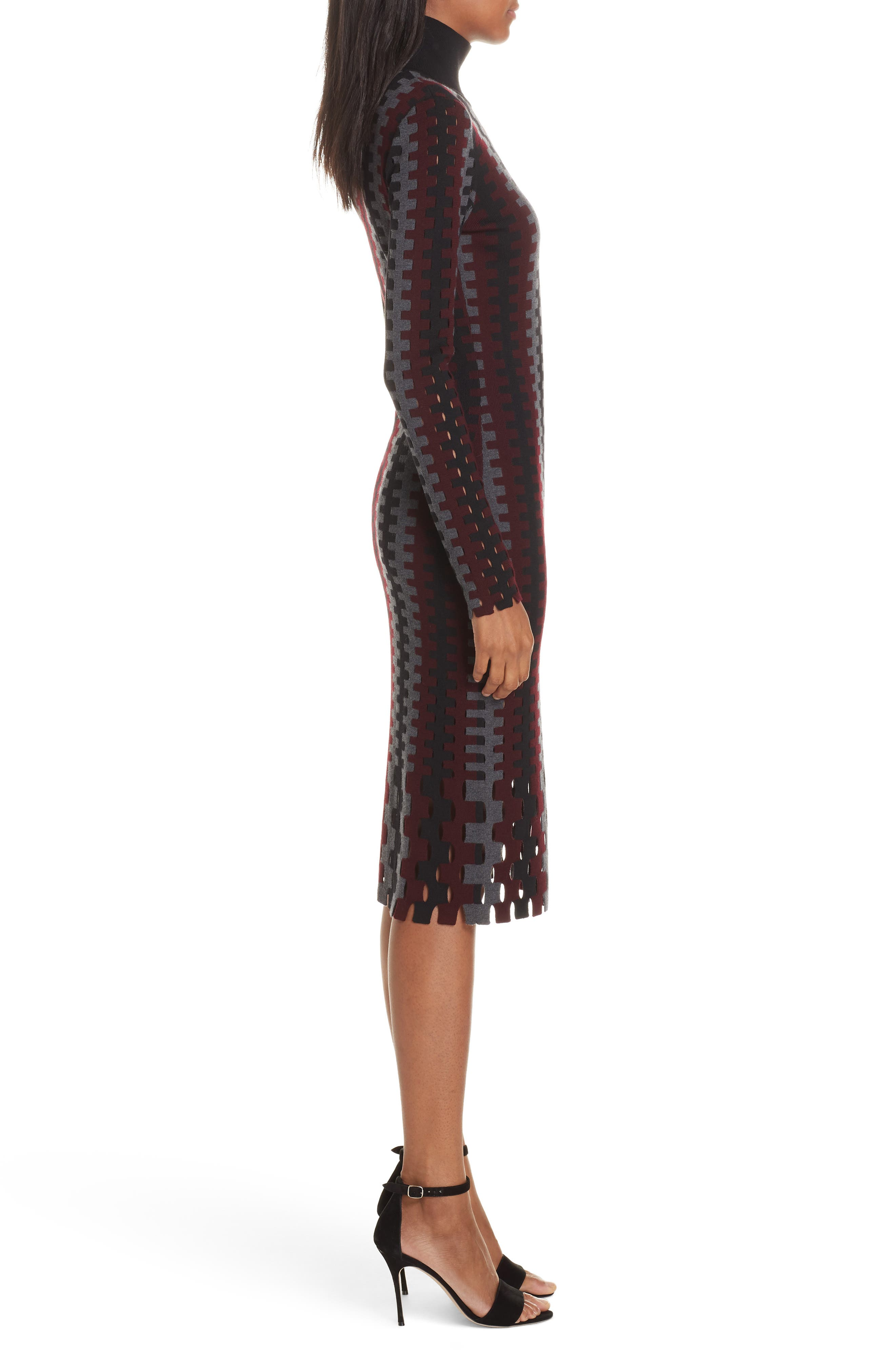 Diane von Furstenberg Turtleneck Merino Wool Midi Dress,                             Alternate thumbnail 3, color,                             200