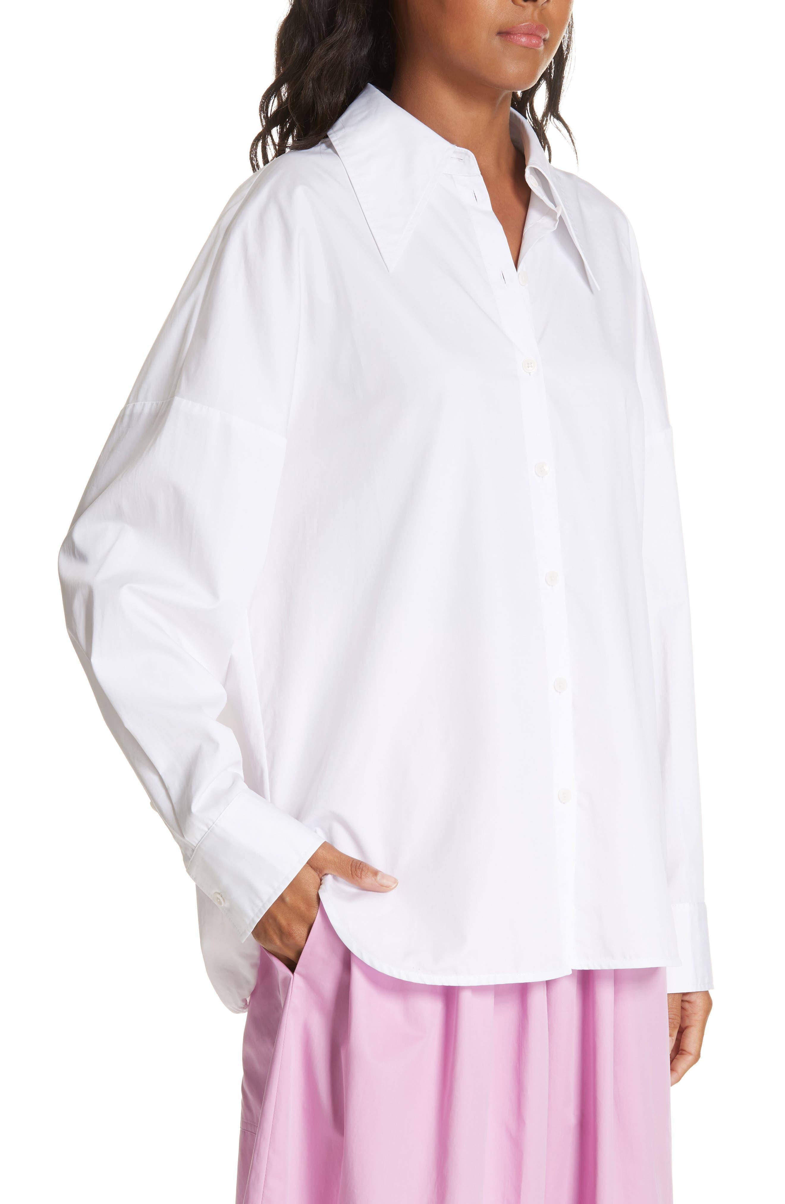 Oversize Poplin Shirt,                             Alternate thumbnail 4, color,                             WHITE