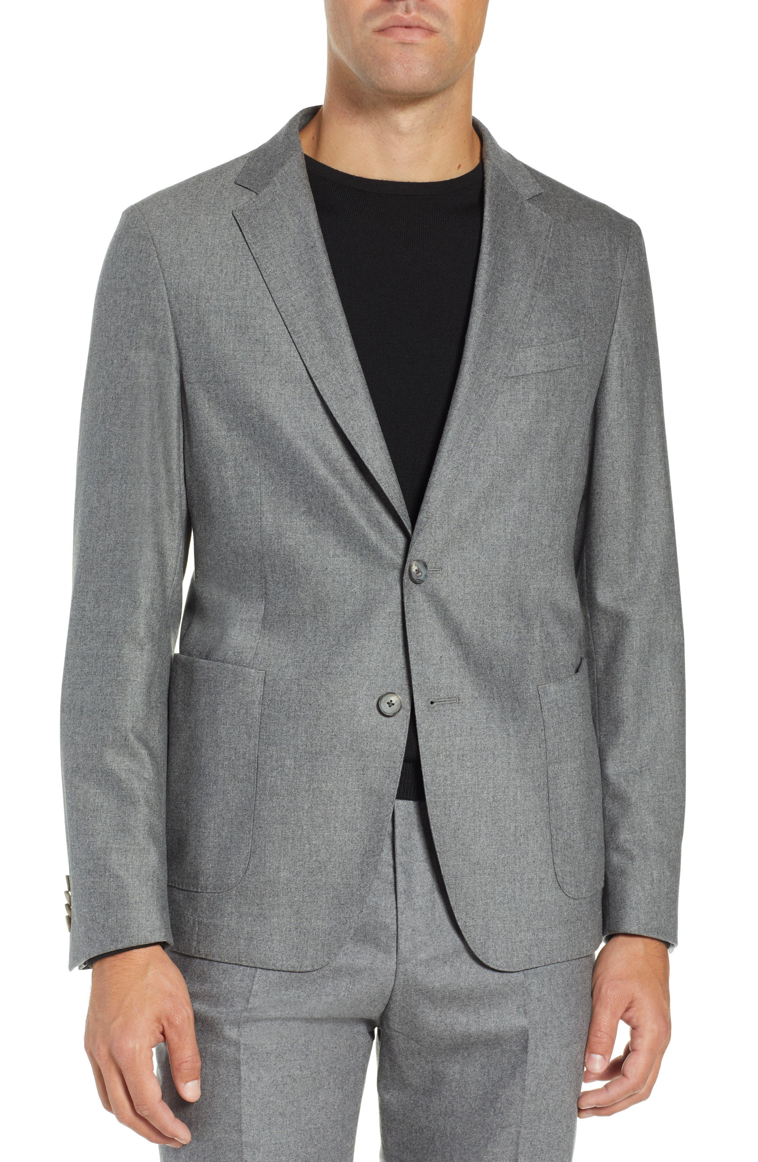 Nold Trim Fit Stretch Wool Blend Blazer,                         Main,                         color, MEDIUM GREY