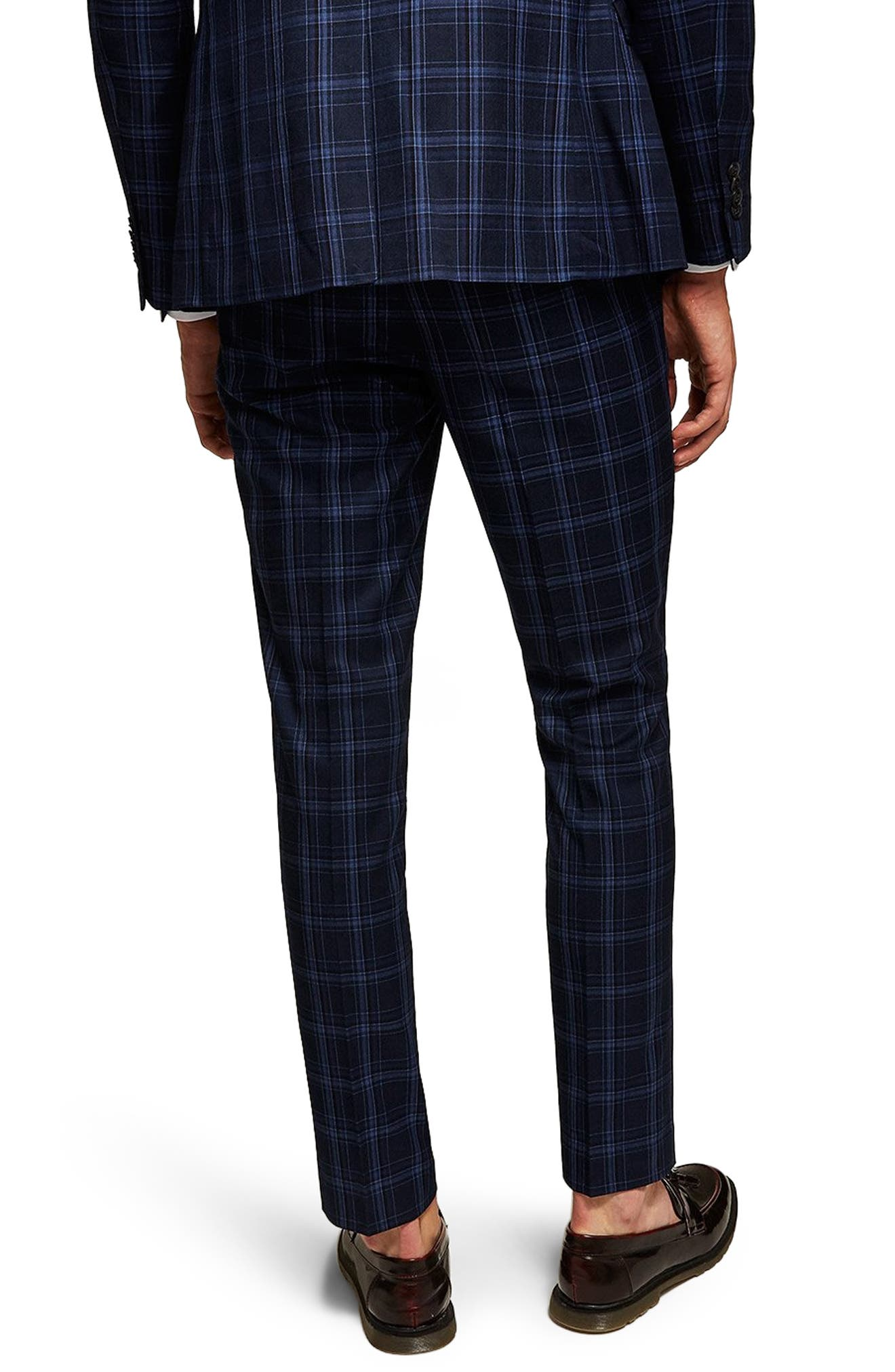 Skinny Fit Check Trousers,                             Alternate thumbnail 2, color,                             BLUE