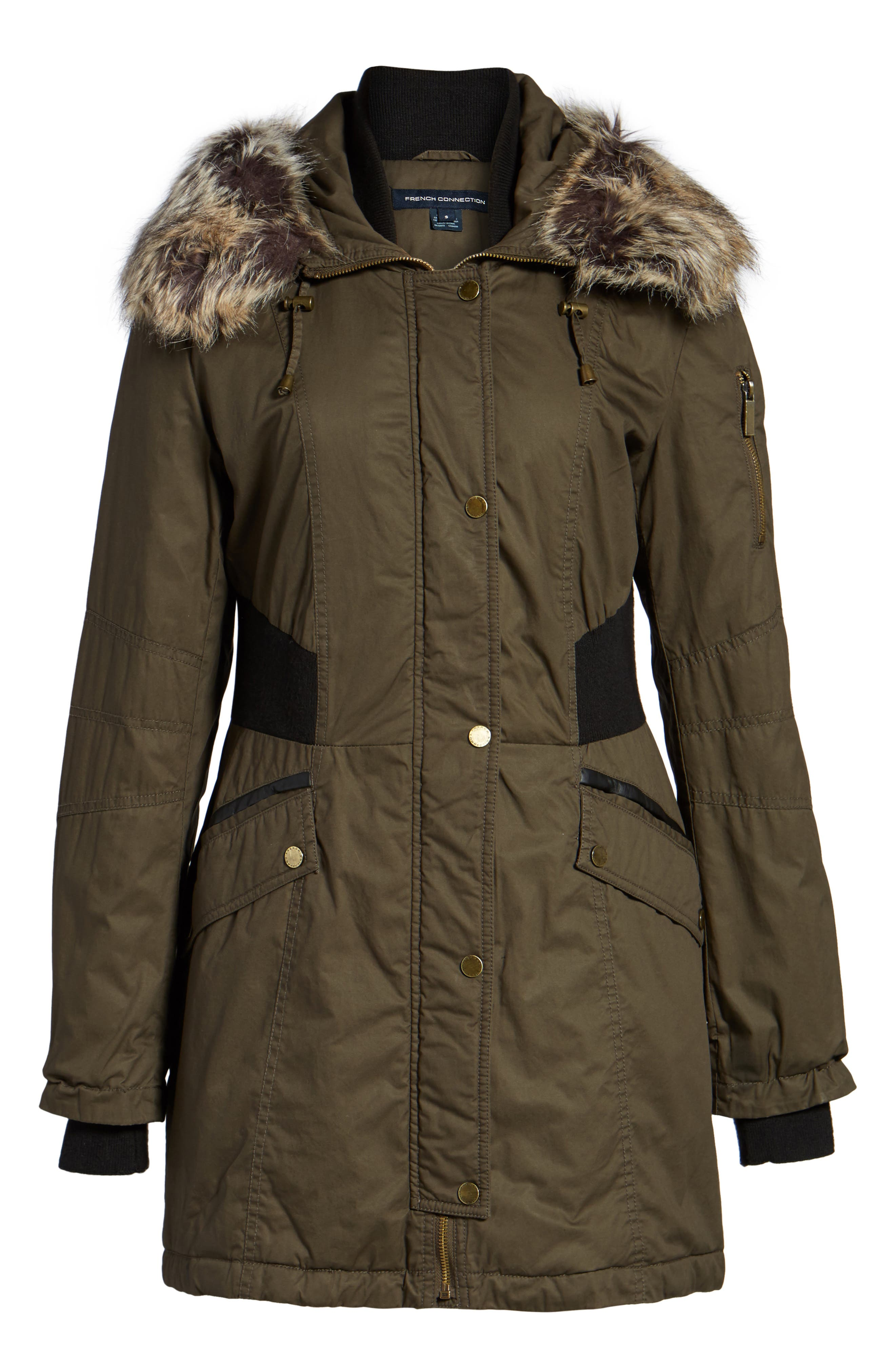 Mixed Media Parka with Faux Fur Trim Hood,                             Alternate thumbnail 15, color,