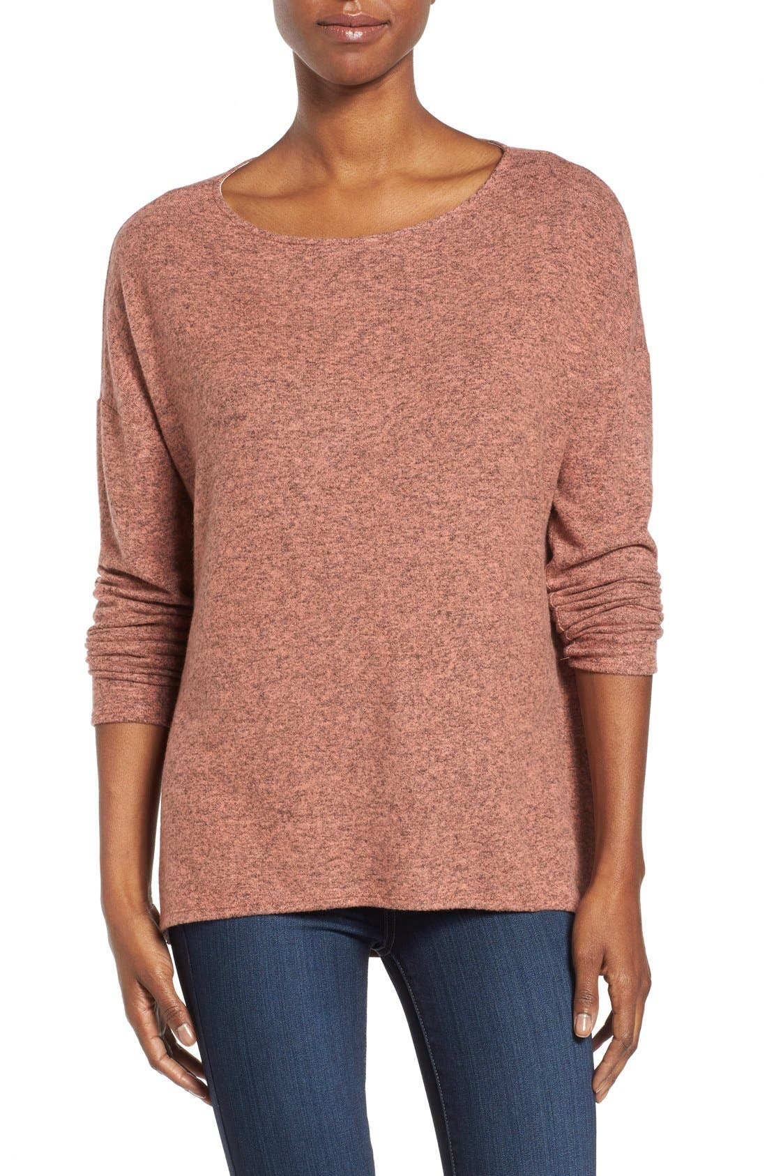 Cozy Ballet Neck High/Low Pullover,                             Main thumbnail 18, color,