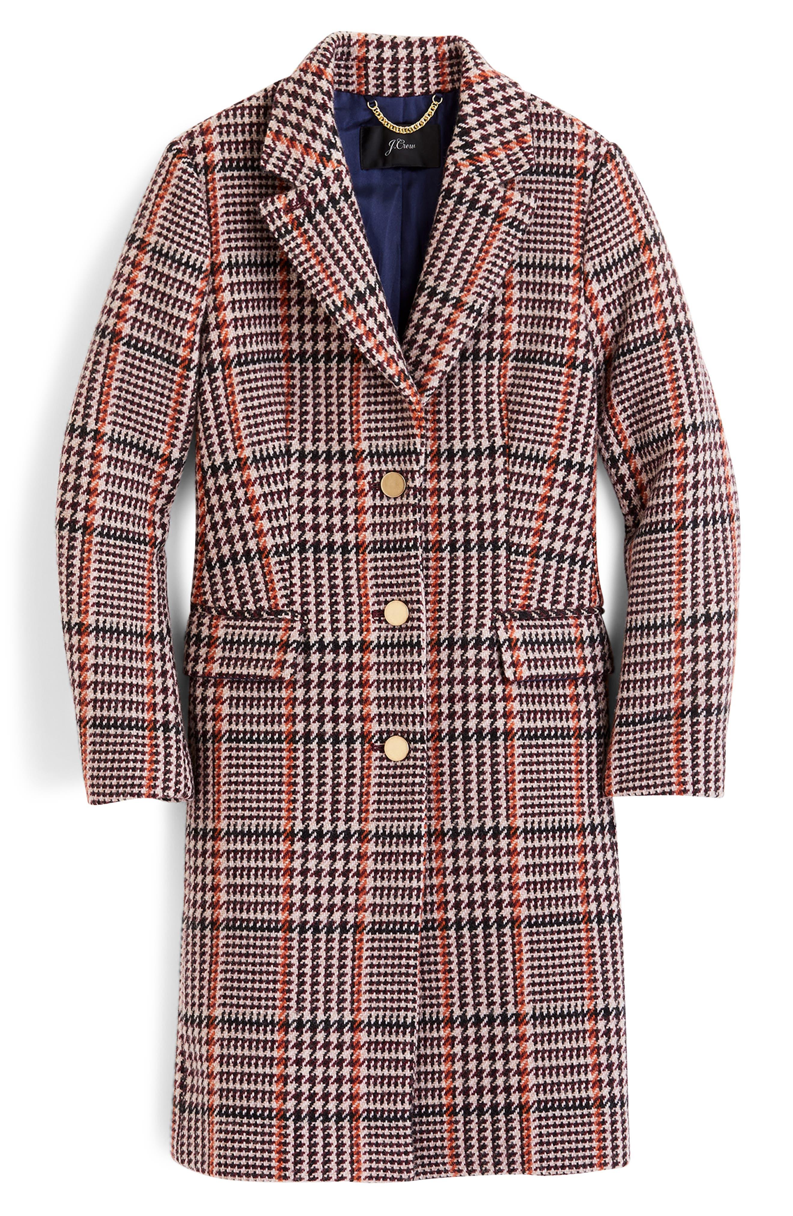 Plaid Single Breasted Topcoat,                             Alternate thumbnail 5, color,                             CABERNET PLAID