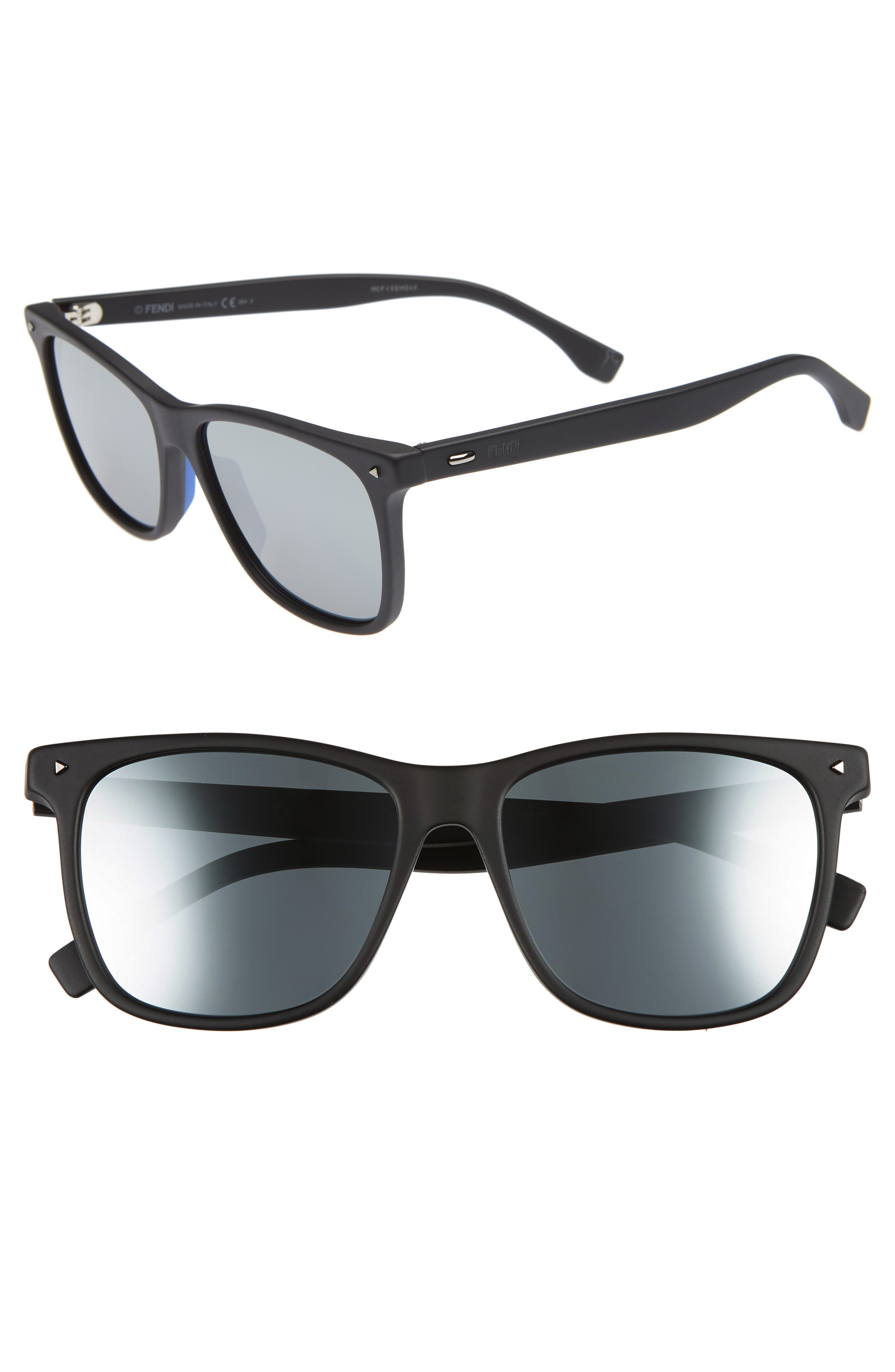 55mm Polarized Sunglasses,                         Main,                         color, MATTE BLACK