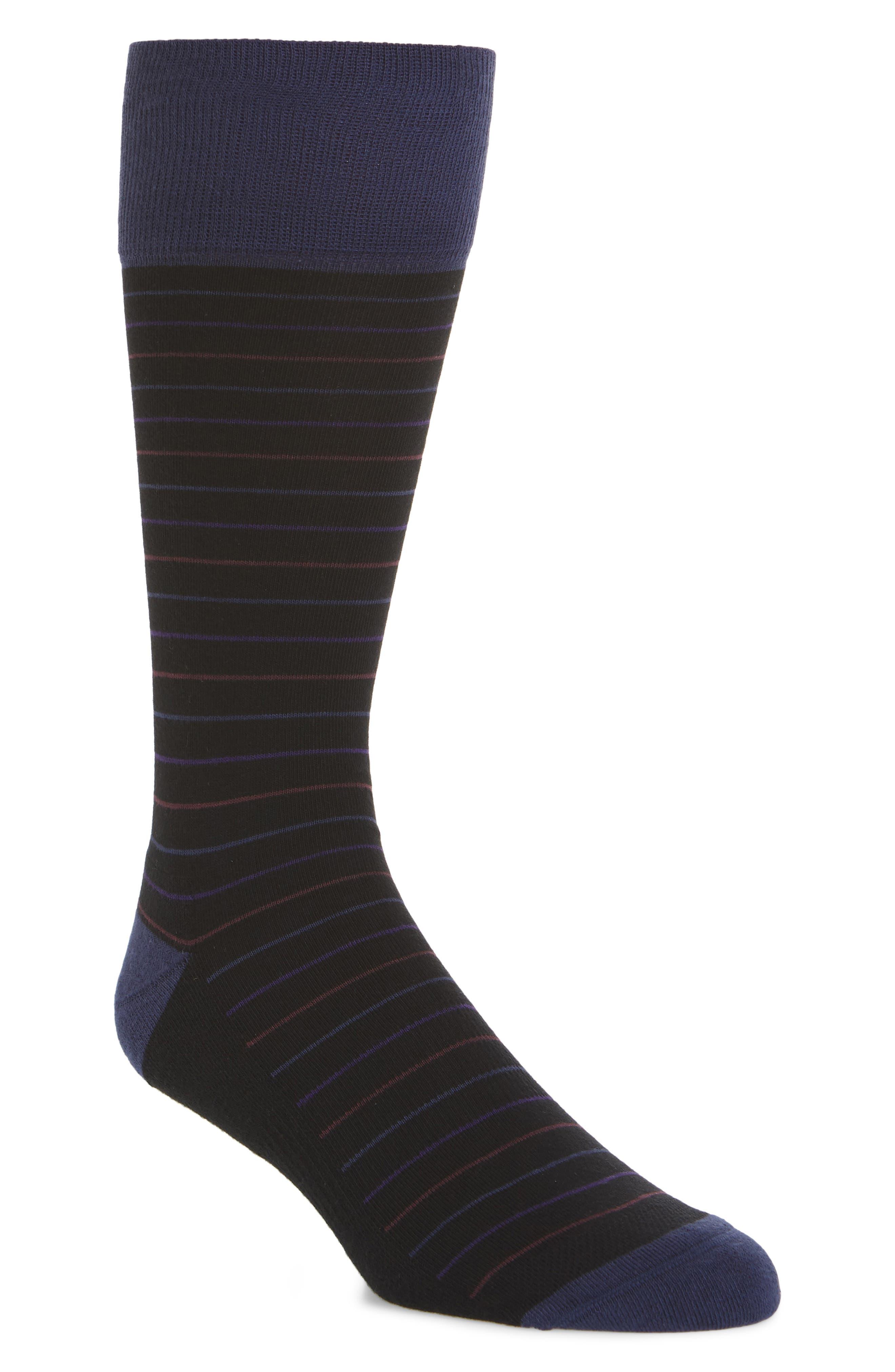 Stripe Socks,                         Main,                         color, BLACK/ BLUE